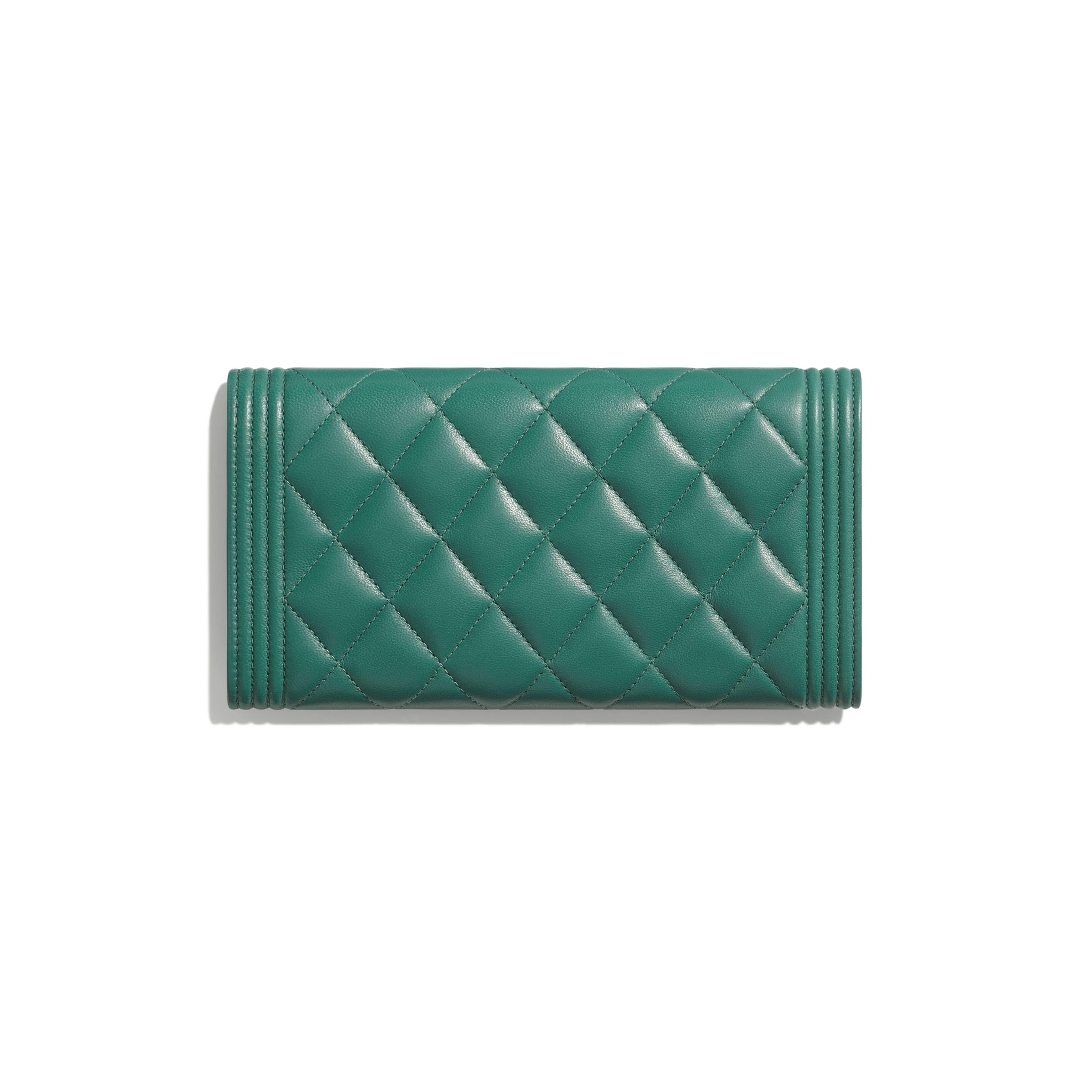 BOY CHANEL Long Flap Wallet - Green - Lambskin - Alternative view - see standard sized version