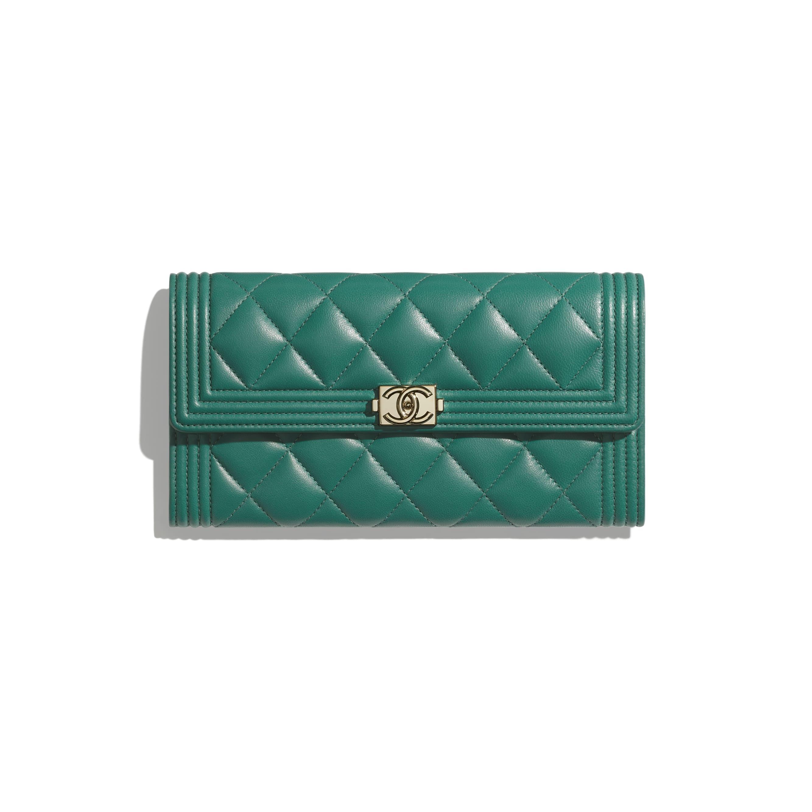 BOY CHANEL Long Flap Wallet - Green - Lambskin - Default view - see standard sized version