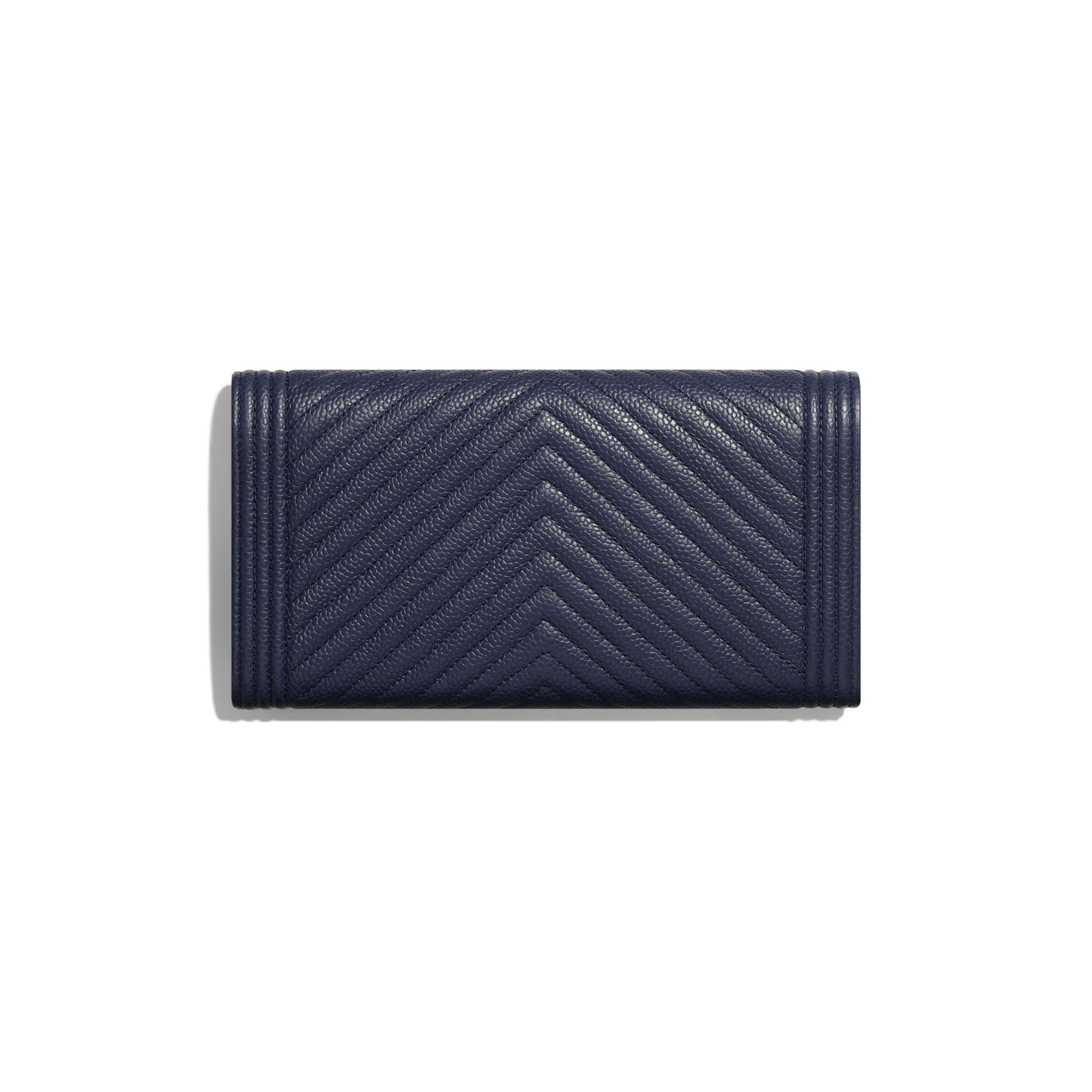 BOY CHANEL Long Flap Wallet - Navy Blue - Grained Calfskin & Ruthenium-Finish Metal - Alternative view - see standard sized version