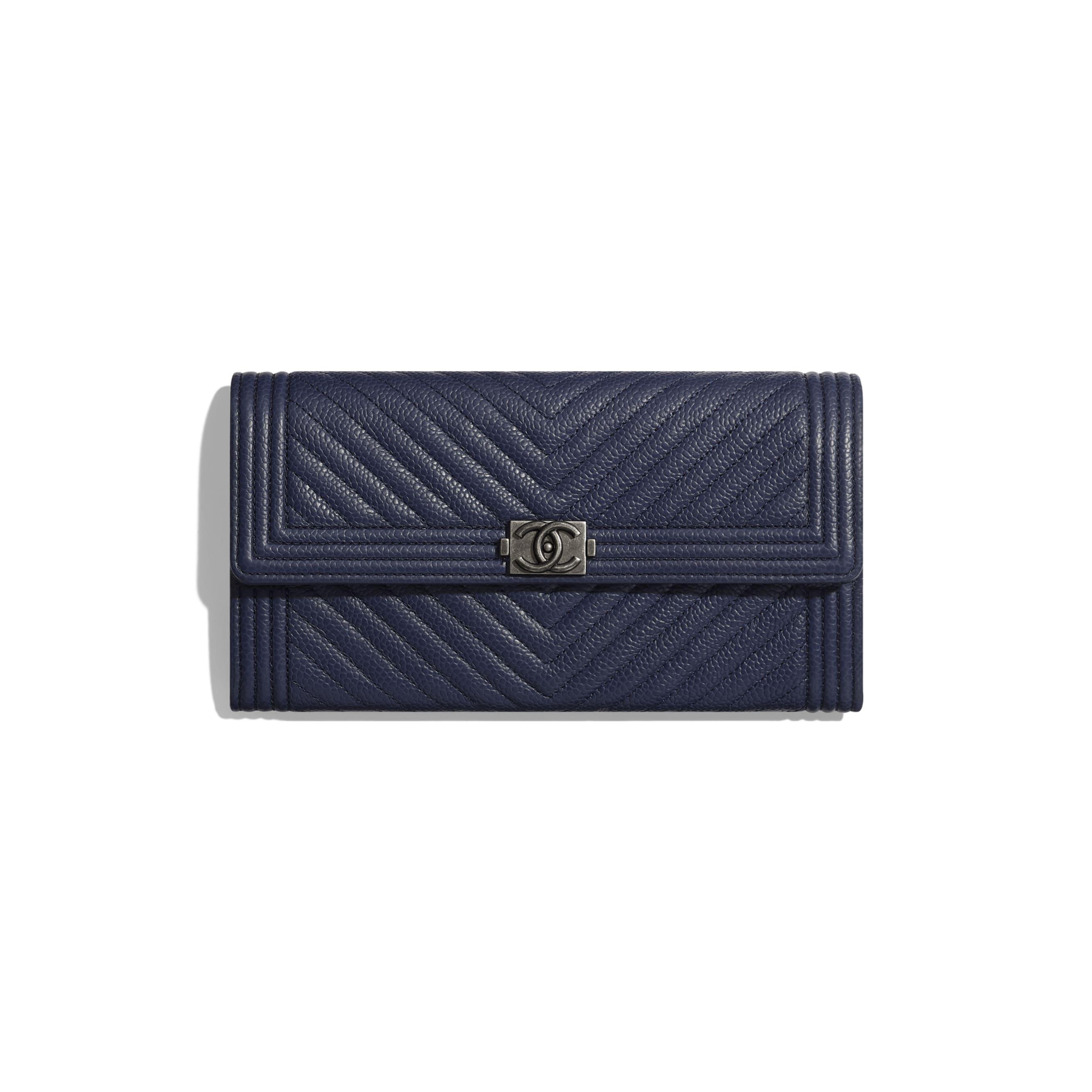BOY CHANEL Long Flap Wallet - Navy Blue - Grained Calfskin & Ruthenium-Finish Metal - Default view - see standard sized version