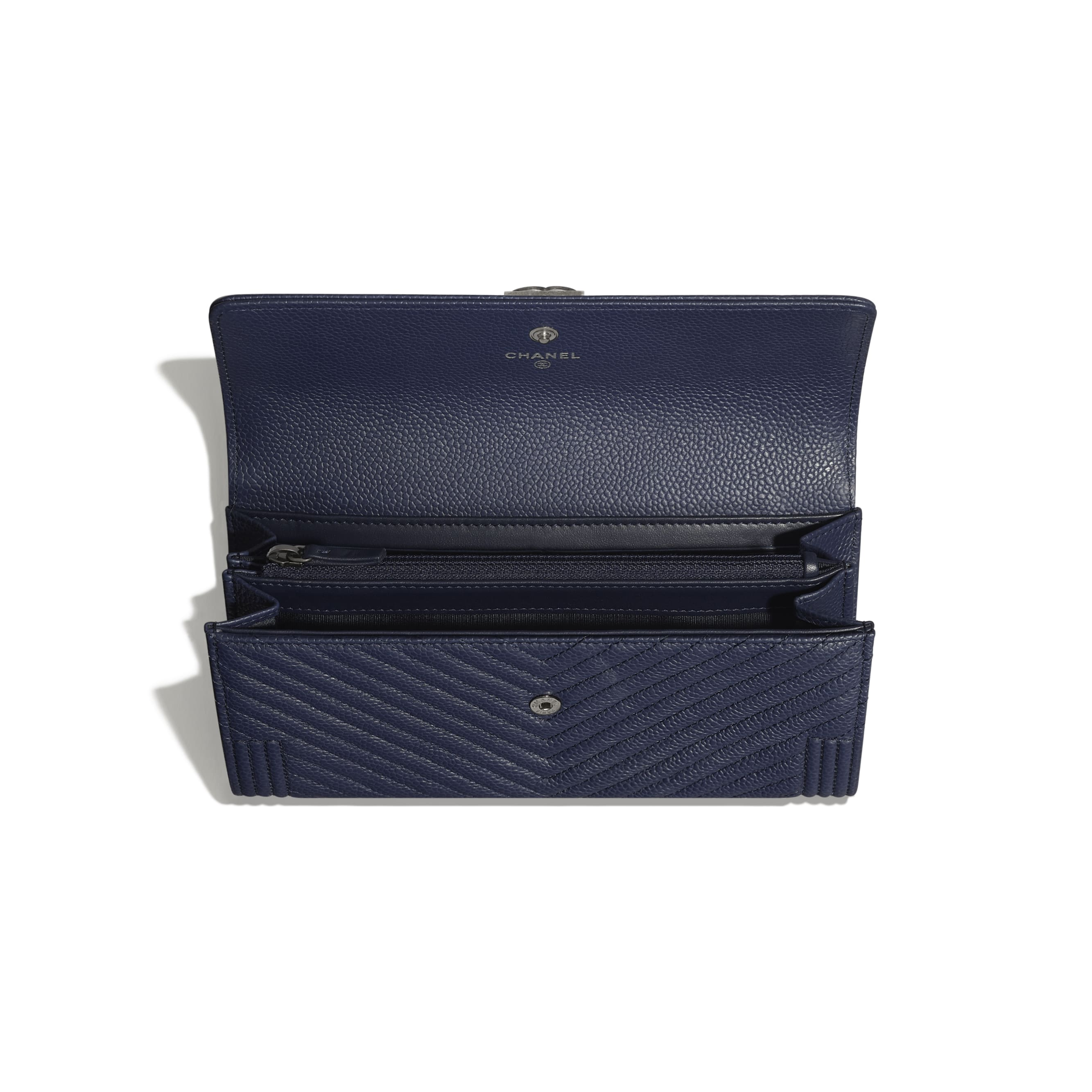 BOY CHANEL Long Flap Wallet - Navy Blue - Grained Calfskin & Ruthenium-Finish Metal - Other view - see standard sized version