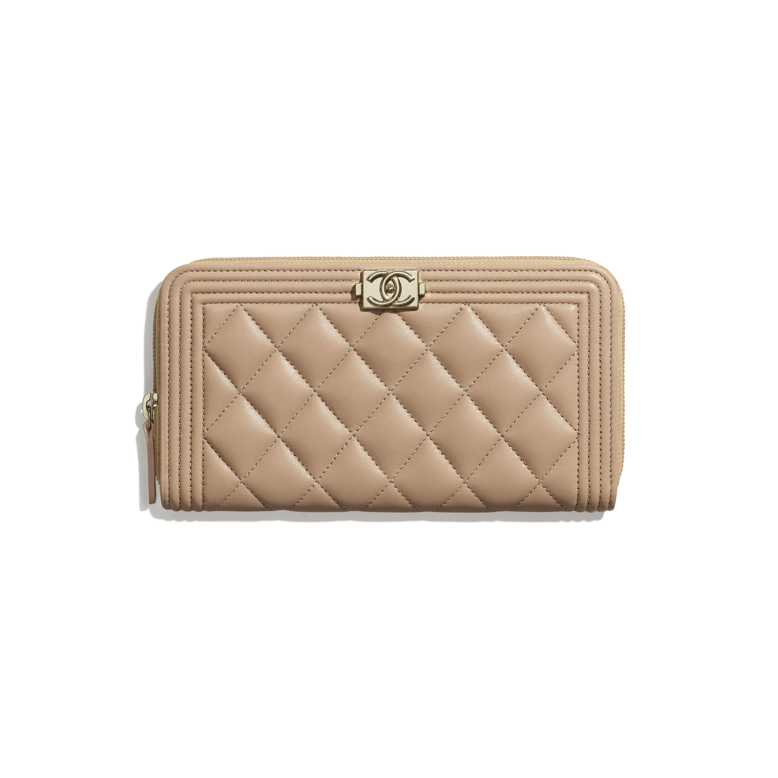 BOY CHANEL Long Zipped Wallet - Beige - Lambskin - CHANEL - Default view - see standard sized version