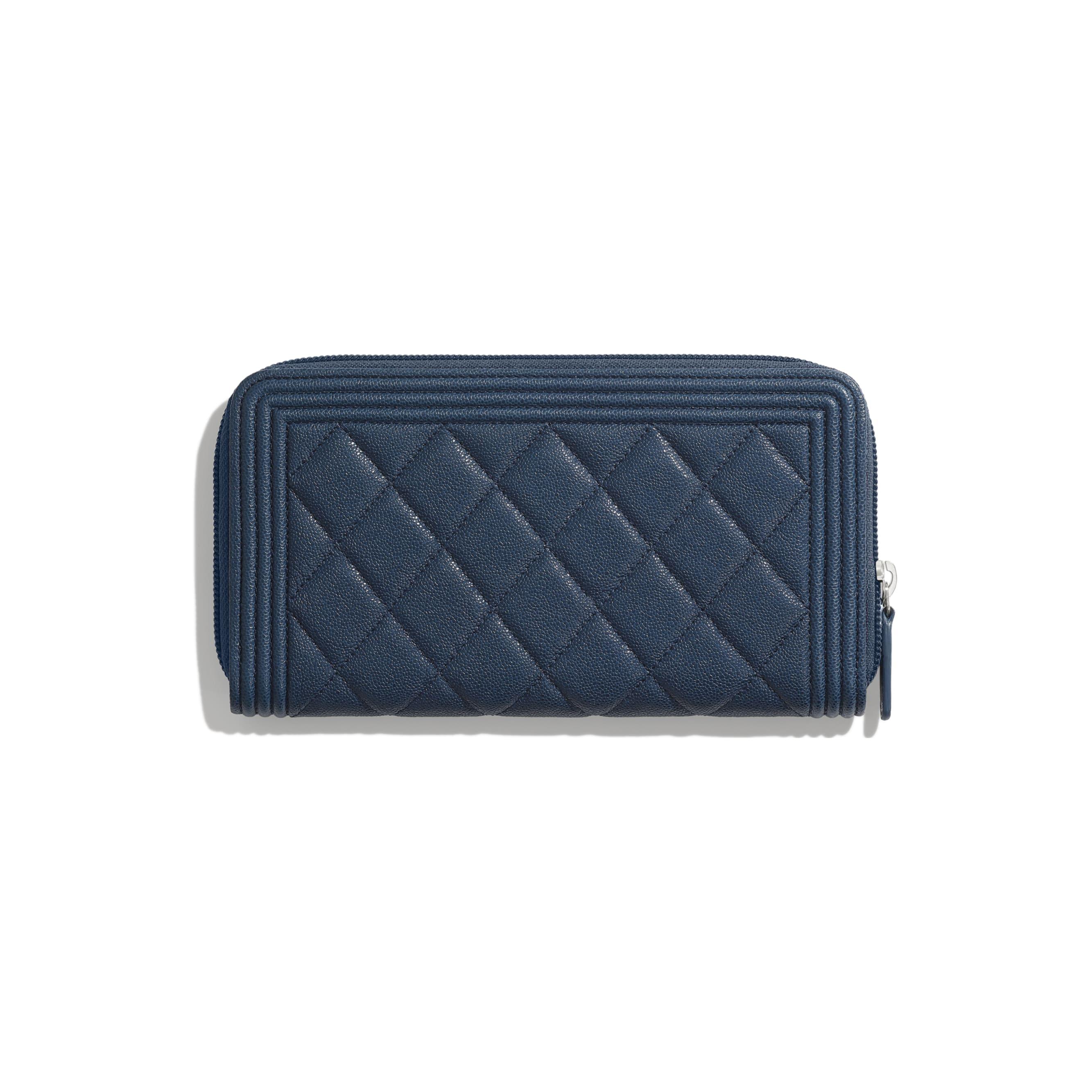 BOY CHANEL Long Zipped Wallet - Blue - Grained Calfskin & Silver Metal - Alternative view - see standard sized version