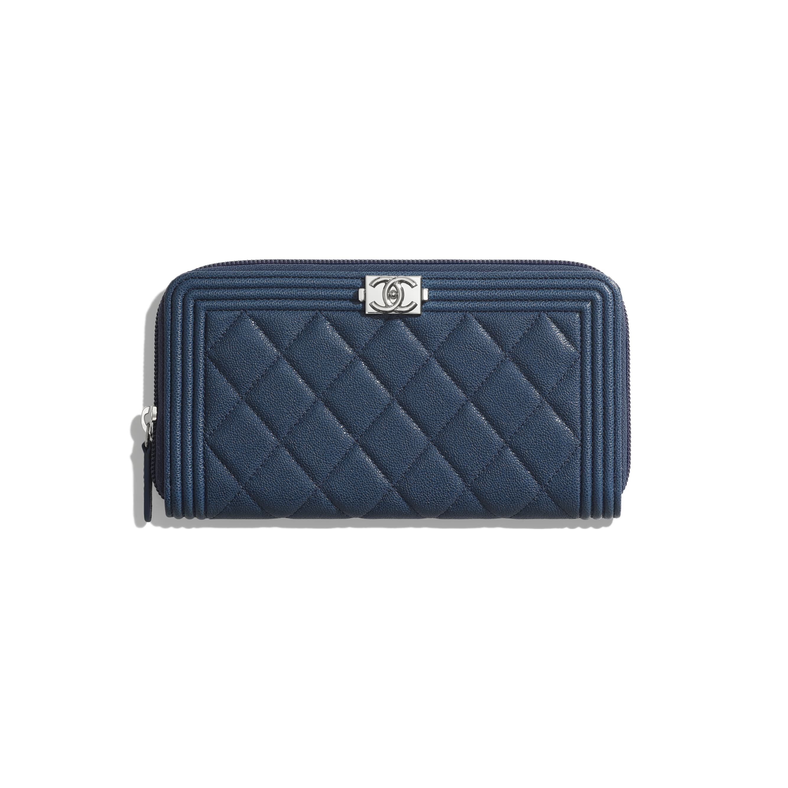 BOY CHANEL Long Zipped Wallet - Blue - Grained Calfskin & Silver Metal - Default view - see standard sized version