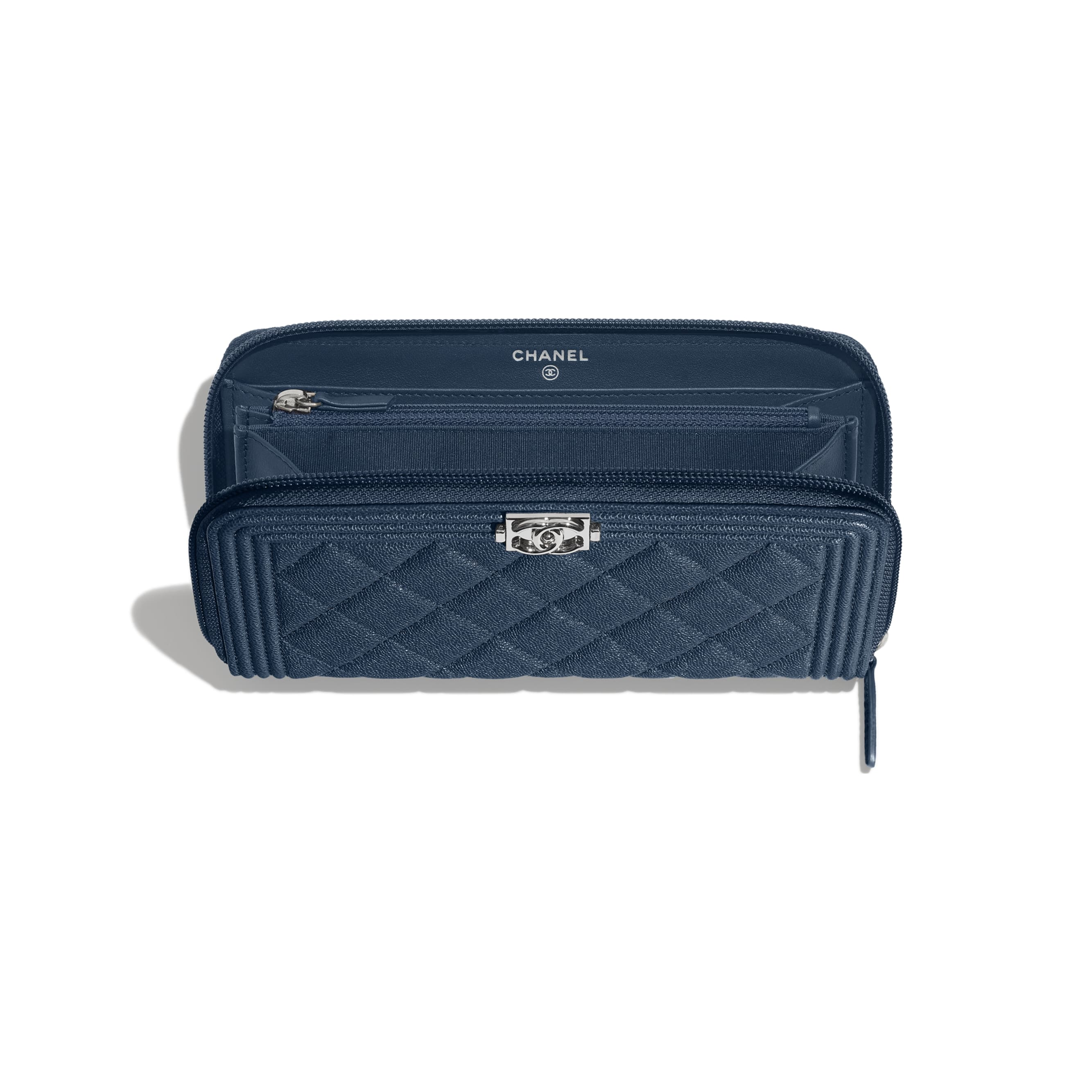 BOY CHANEL Long Zipped Wallet - Blue - Grained Calfskin & Silver Metal - Other view - see standard sized version