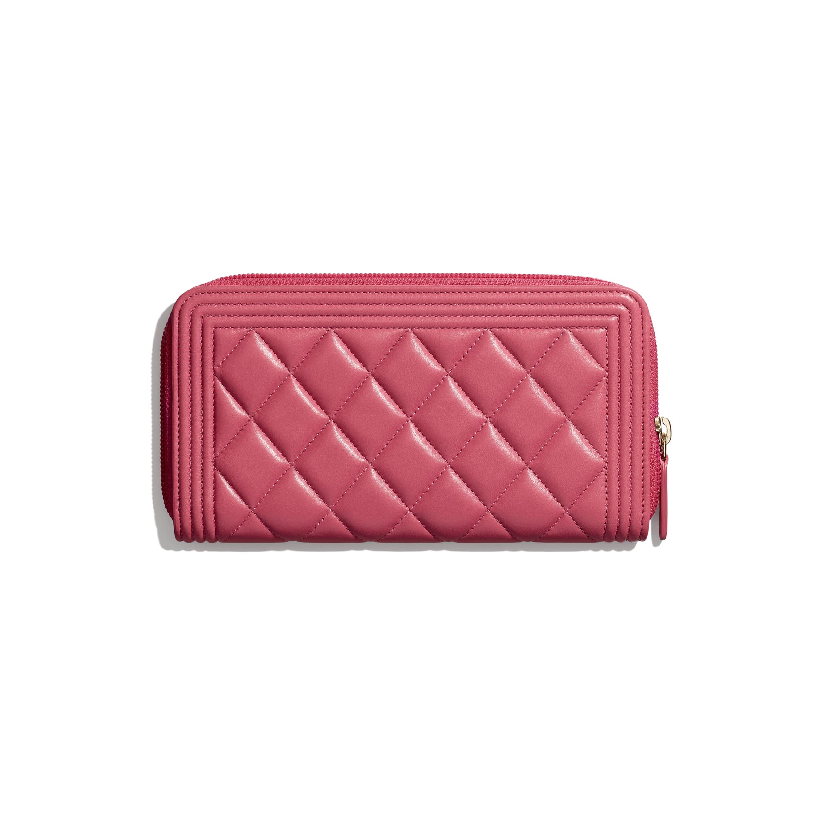 BOY CHANEL Long Zipped Wallet - Pink - Lambskin & Gold-Tone Metal - CHANEL - Alternative view - see standard sized version