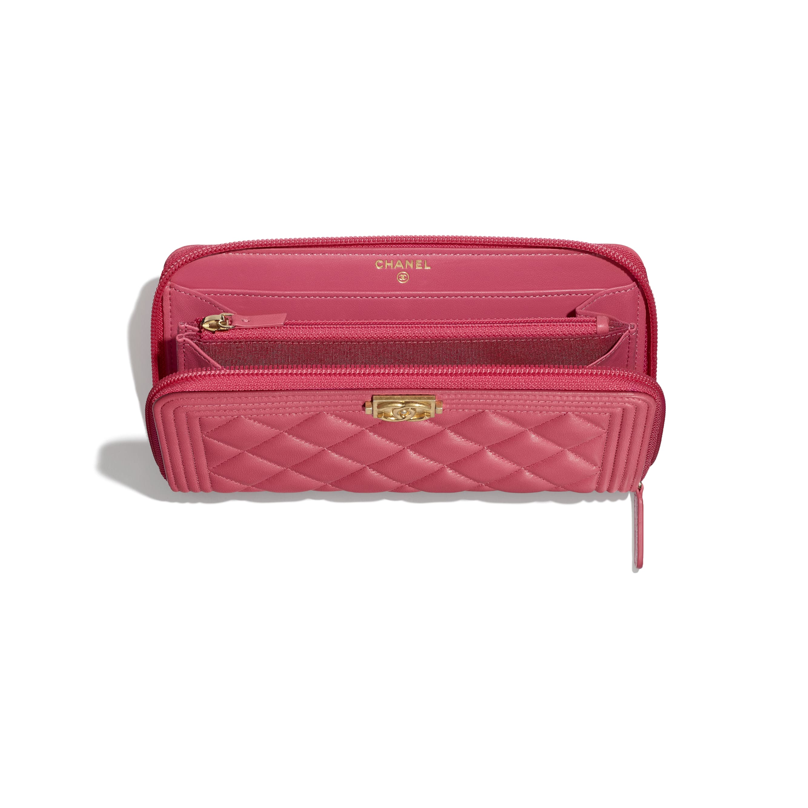 BOY CHANEL Long Zipped Wallet - Pink - Lambskin & Gold-Tone Metal - CHANEL - Other view - see standard sized version