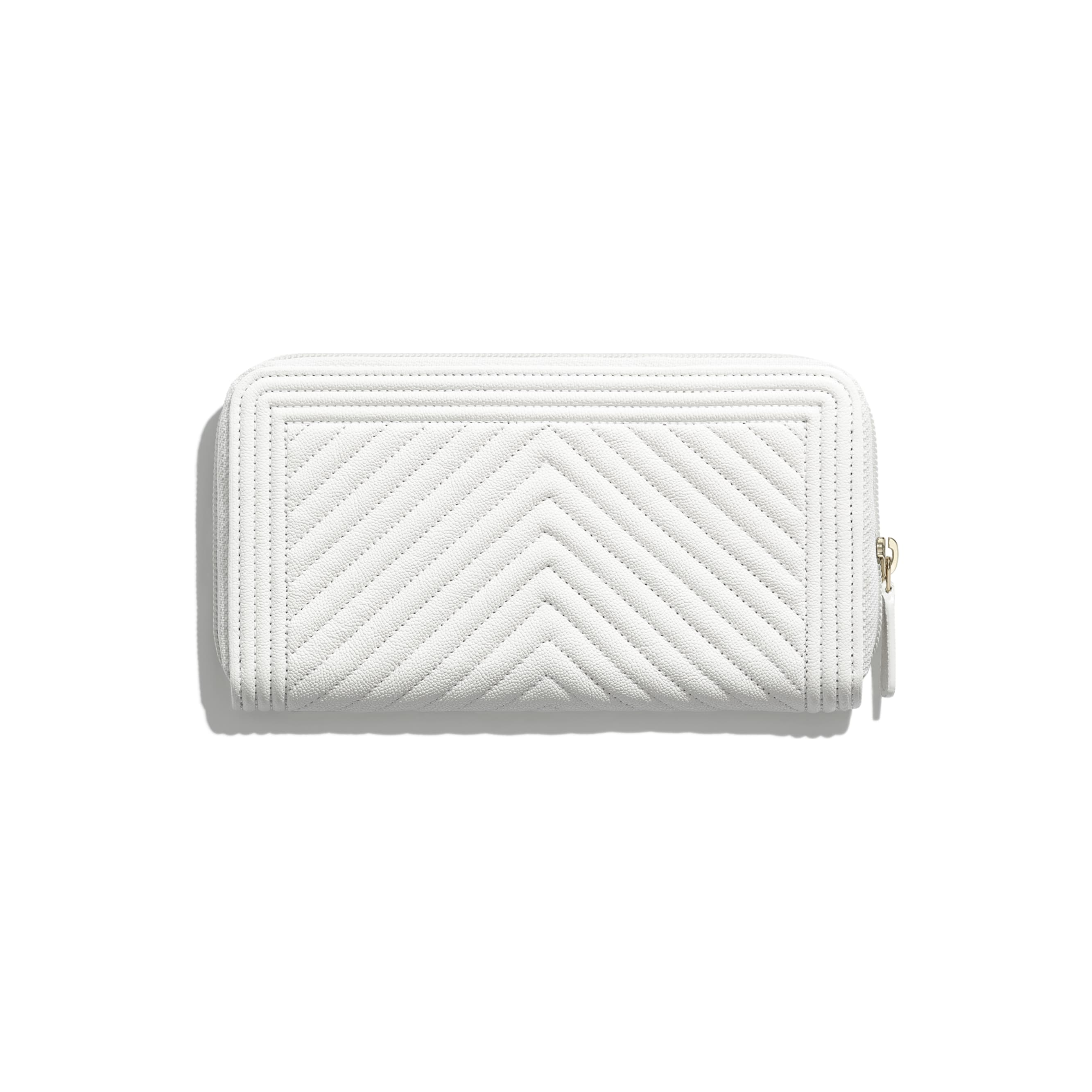 BOY CHANEL Long Zipped Wallet - White - Grained Calfskin & Gold-Tone Metal - CHANEL - Alternative view - see standard sized version