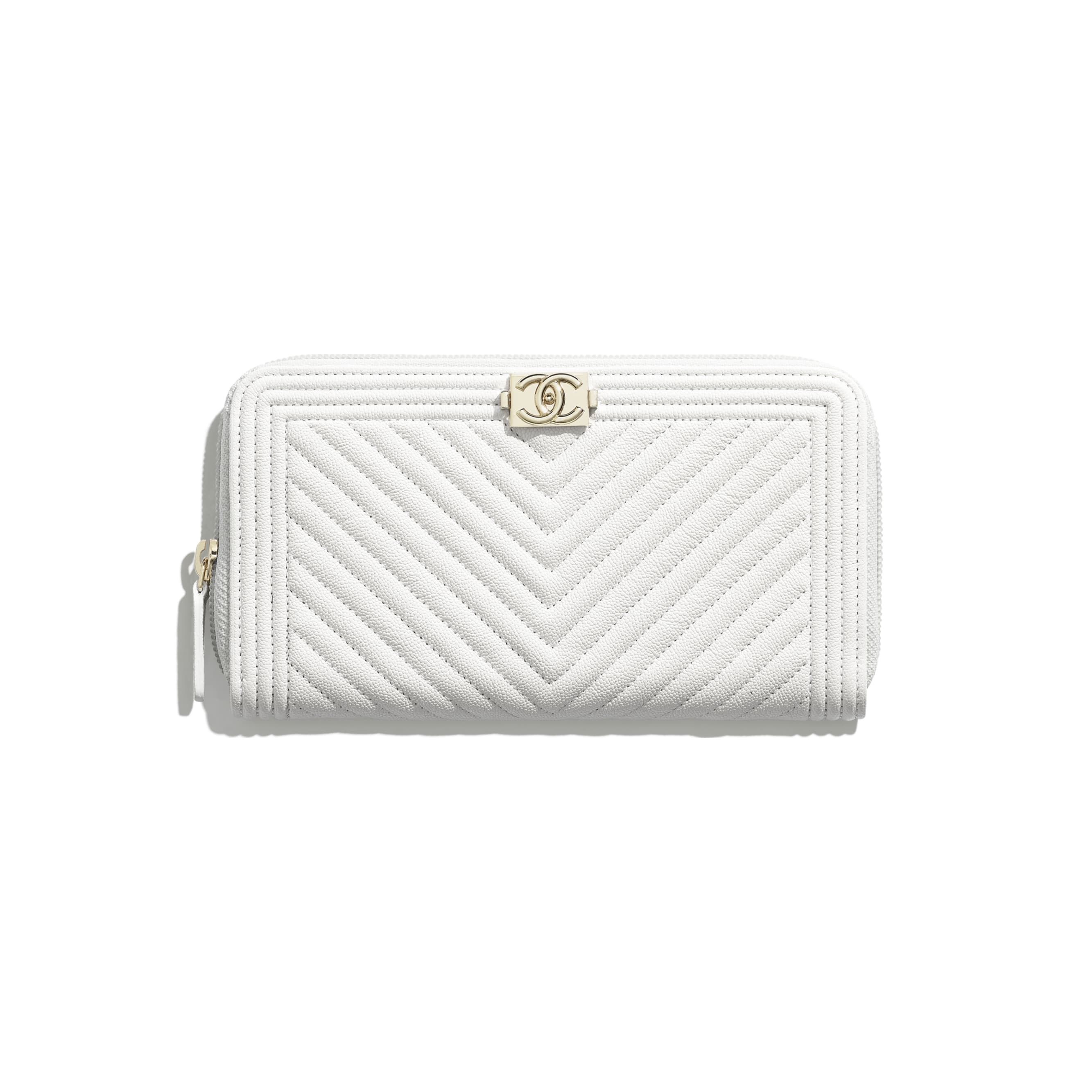 BOY CHANEL Long Zipped Wallet - White - Grained Calfskin & Gold-Tone Metal - CHANEL - Default view - see standard sized version