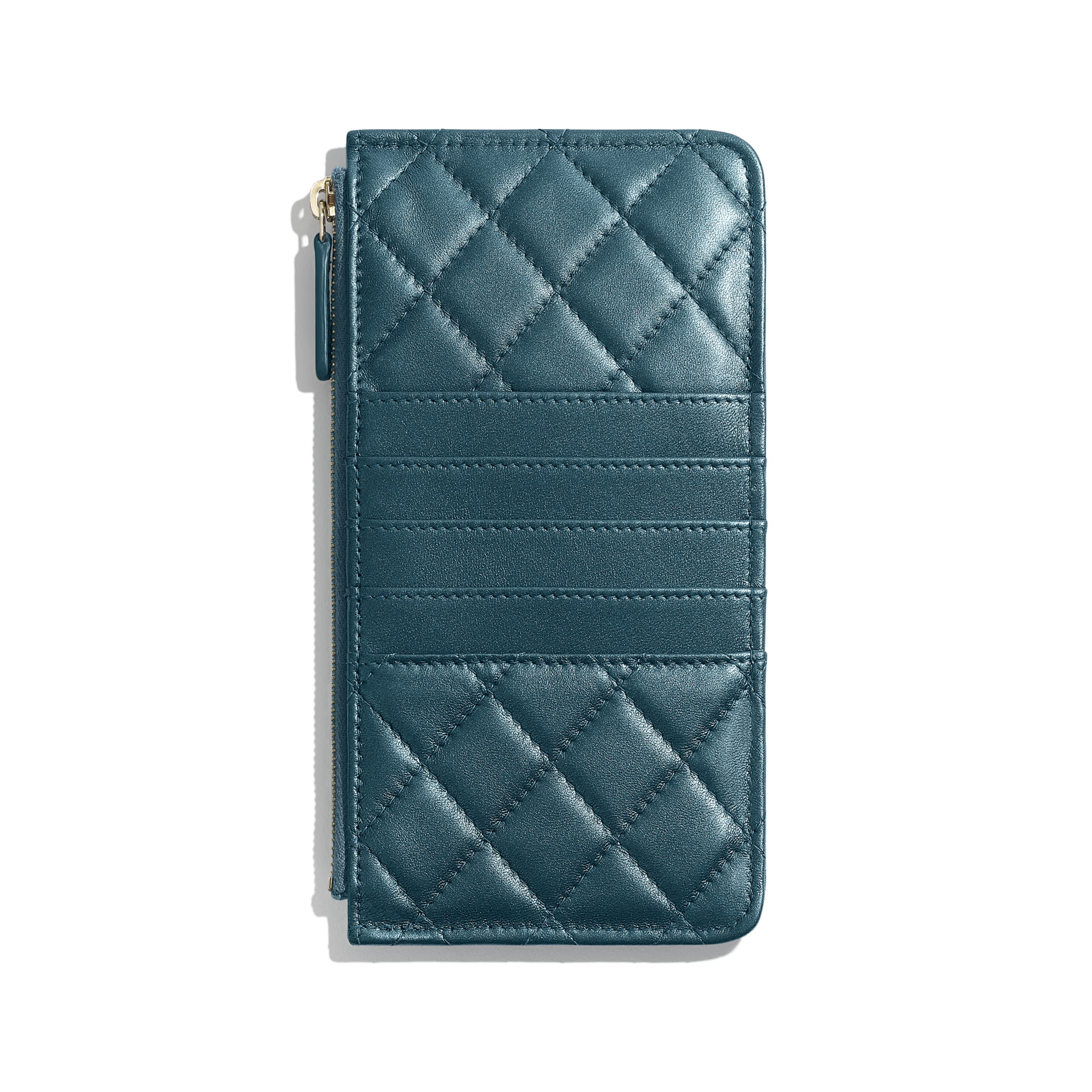 BOY CHANEL Phone & Card Holder - Blue - Metallic Lambskin & Gold Metal - CHANEL - Alternative view - see standard sized version