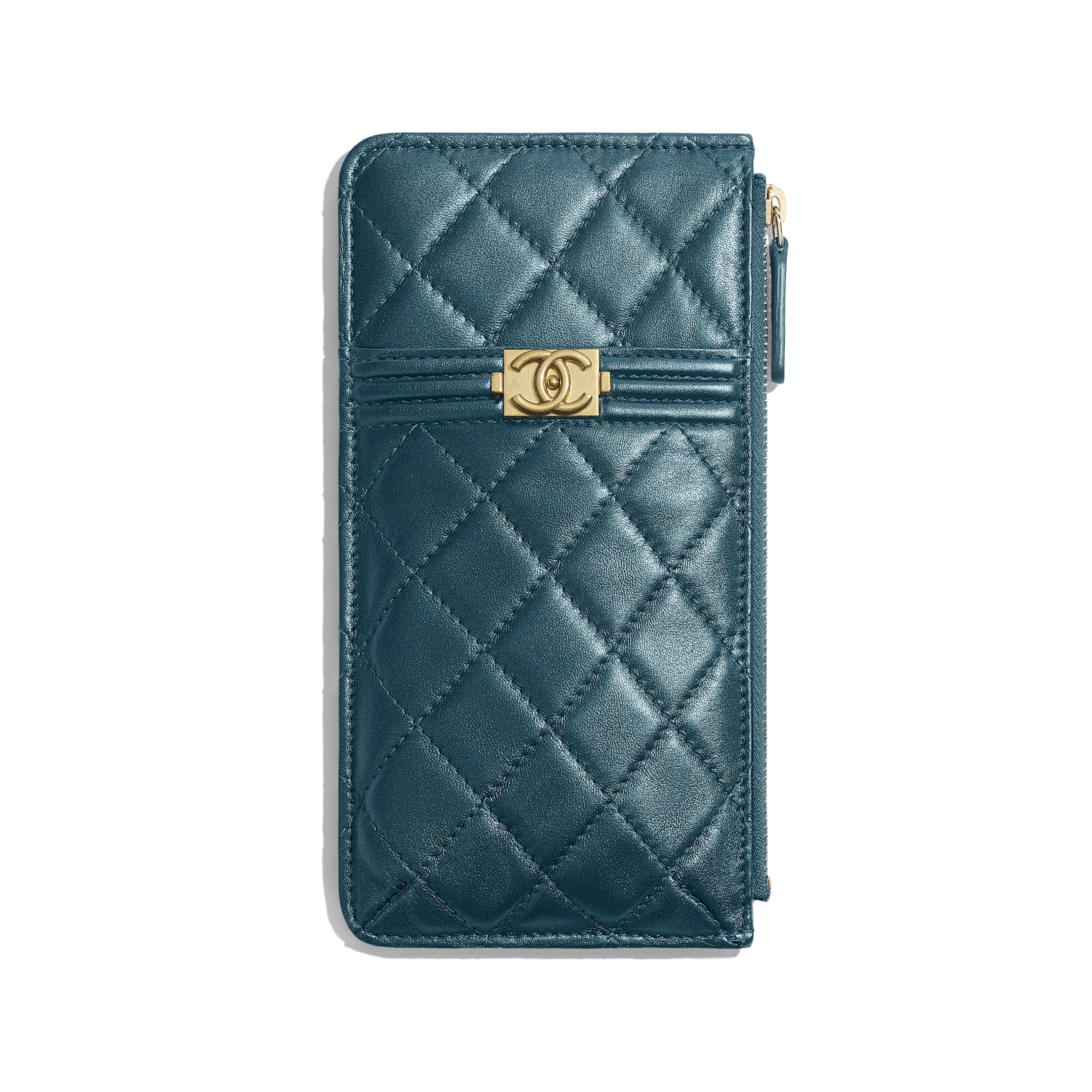 BOY CHANEL Phone & Card Holder - Blue - Metallic Lambskin & Gold Metal - CHANEL - Default view - see standard sized version