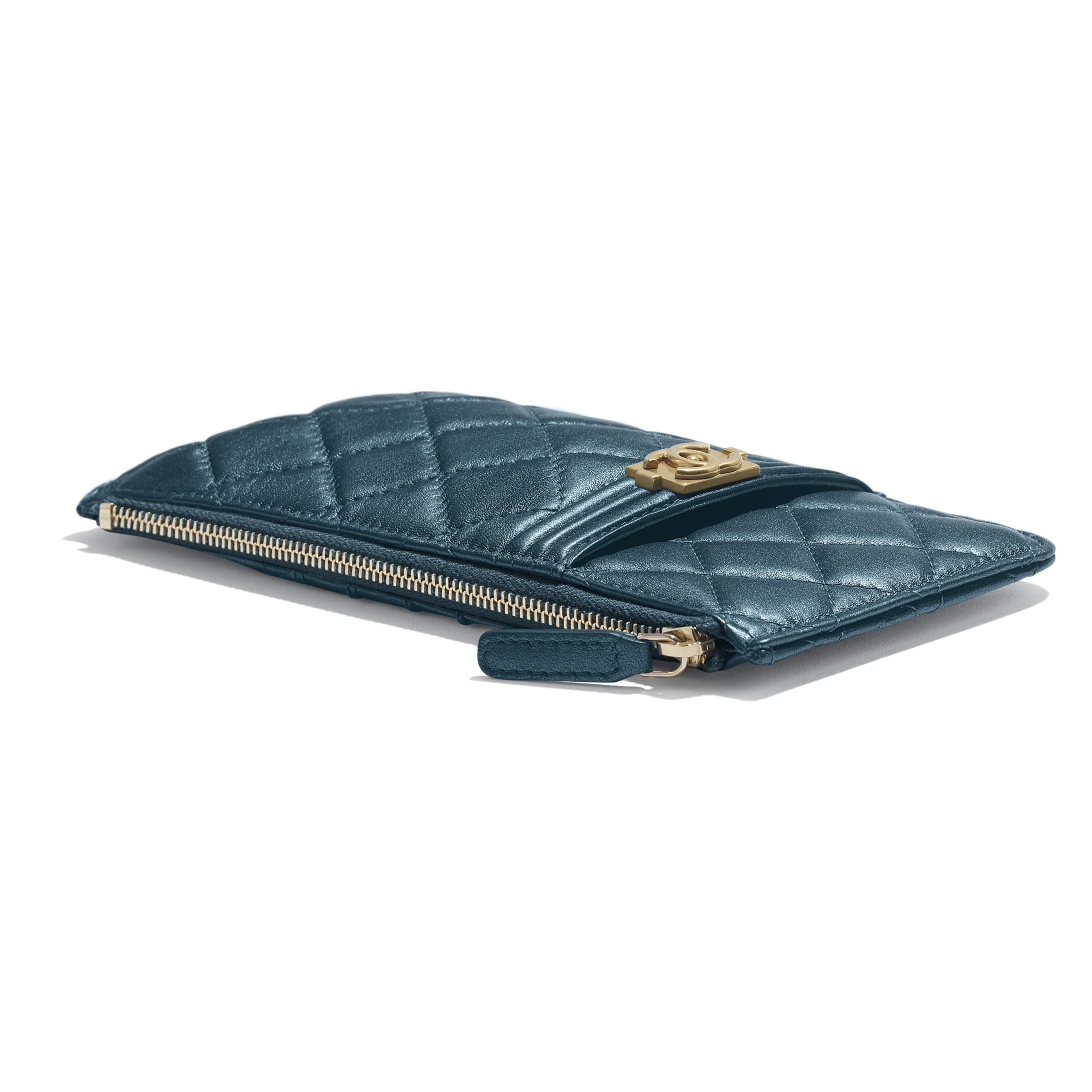 BOY CHANEL Phone & Card Holder - Blue - Metallic Lambskin & Gold Metal - CHANEL - Extra view - see standard sized version