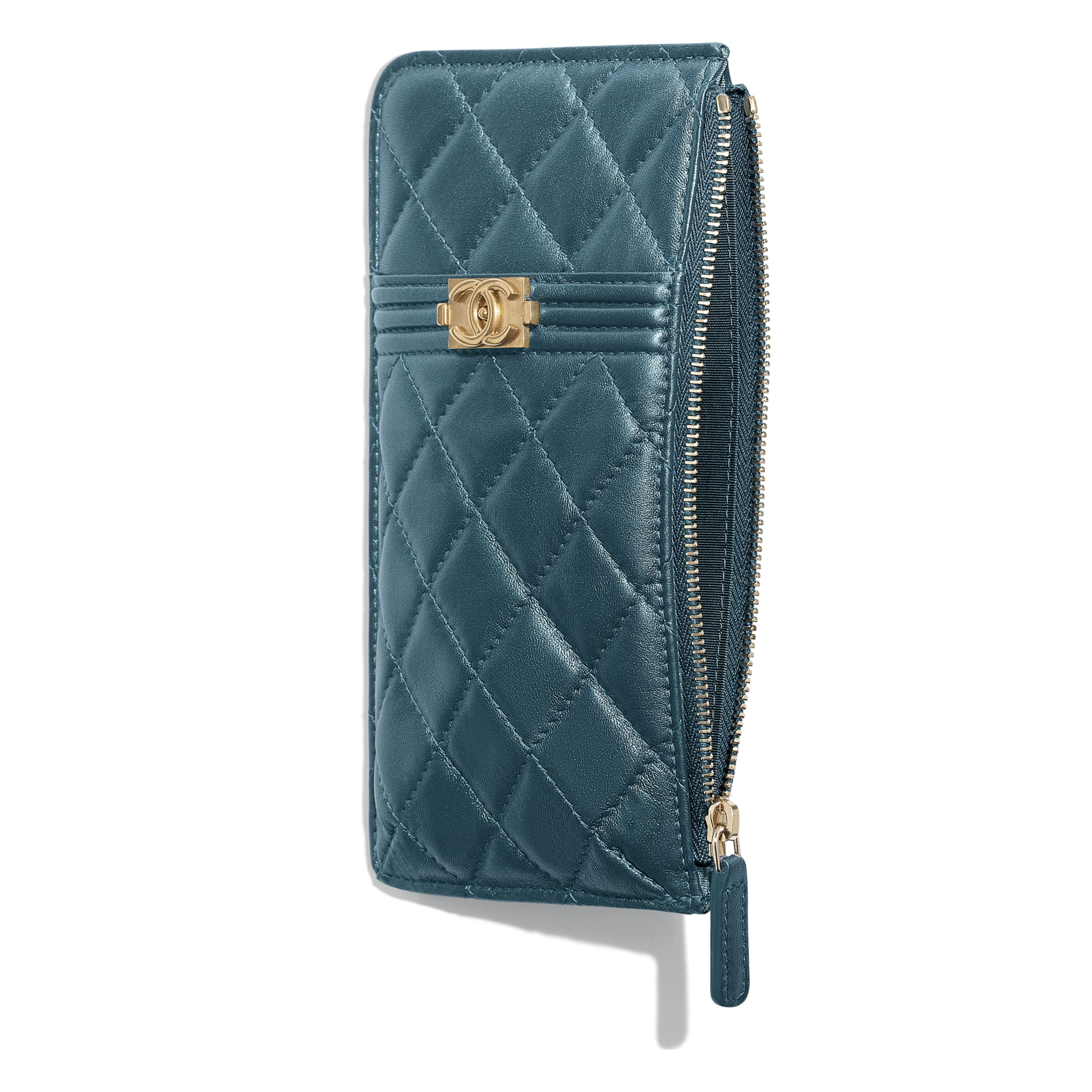 BOY CHANEL Phone & Card Holder - Blue - Metallic Lambskin & Gold Metal - CHANEL - Other view - see standard sized version