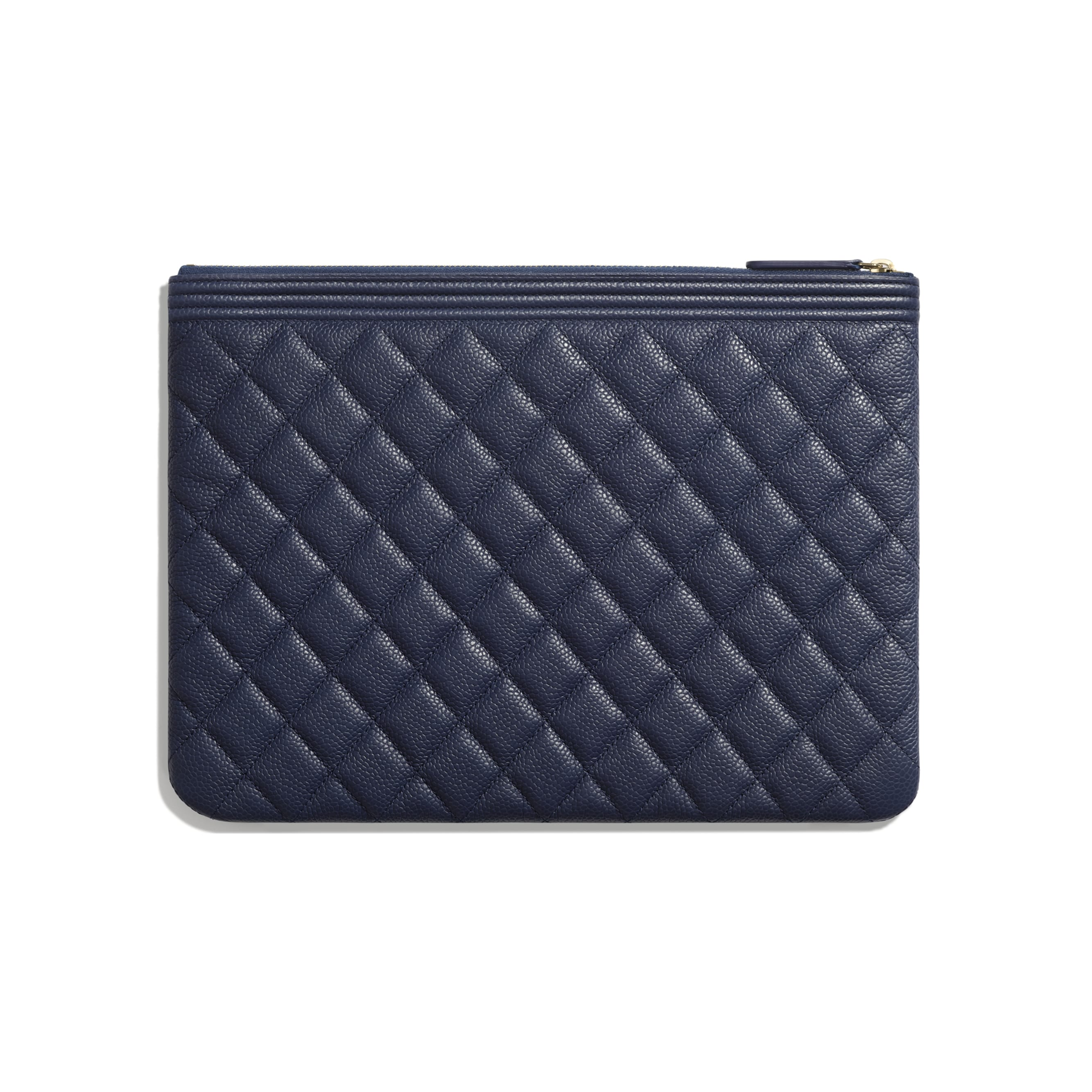 BOY CHANEL Pouch - Navy Blue - Grained Calfskin & Gold-Tone Metal - Alternative view - see standard sized version