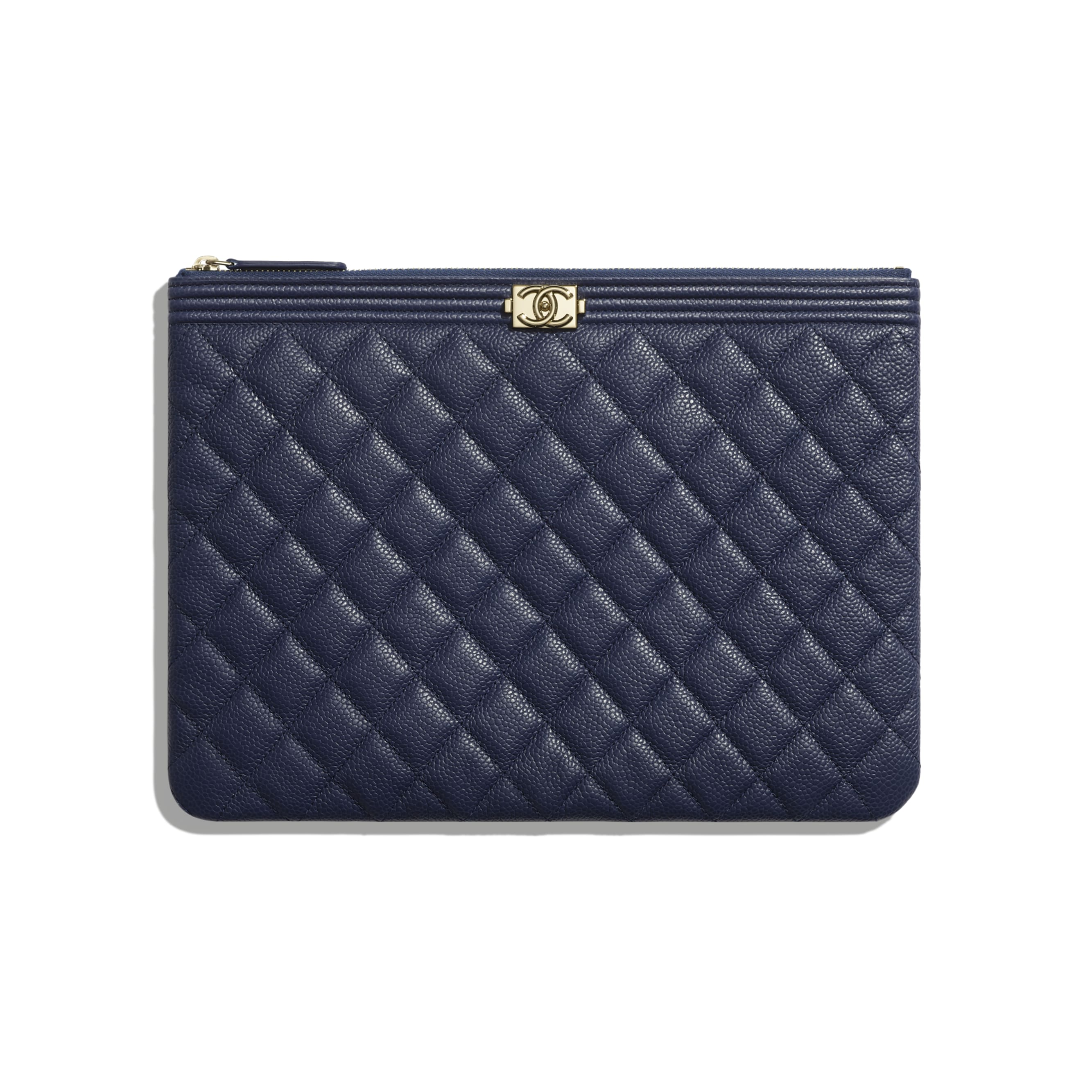 BOY CHANEL Pouch - Navy Blue - Grained Calfskin & Gold-Tone Metal - Default view - see standard sized version