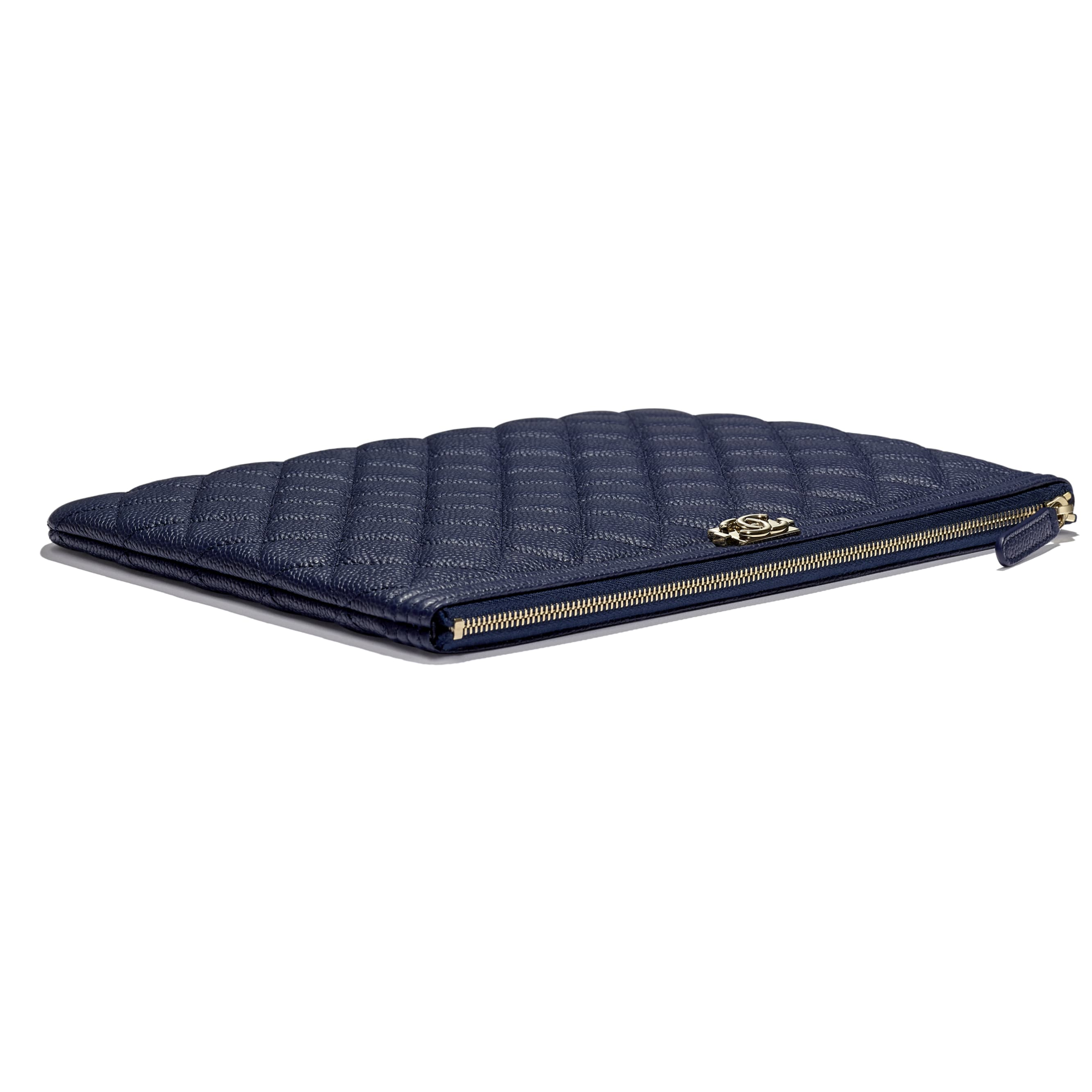 BOY CHANEL Pouch - Navy Blue - Grained Calfskin & Gold-Tone Metal - Extra view - see standard sized version