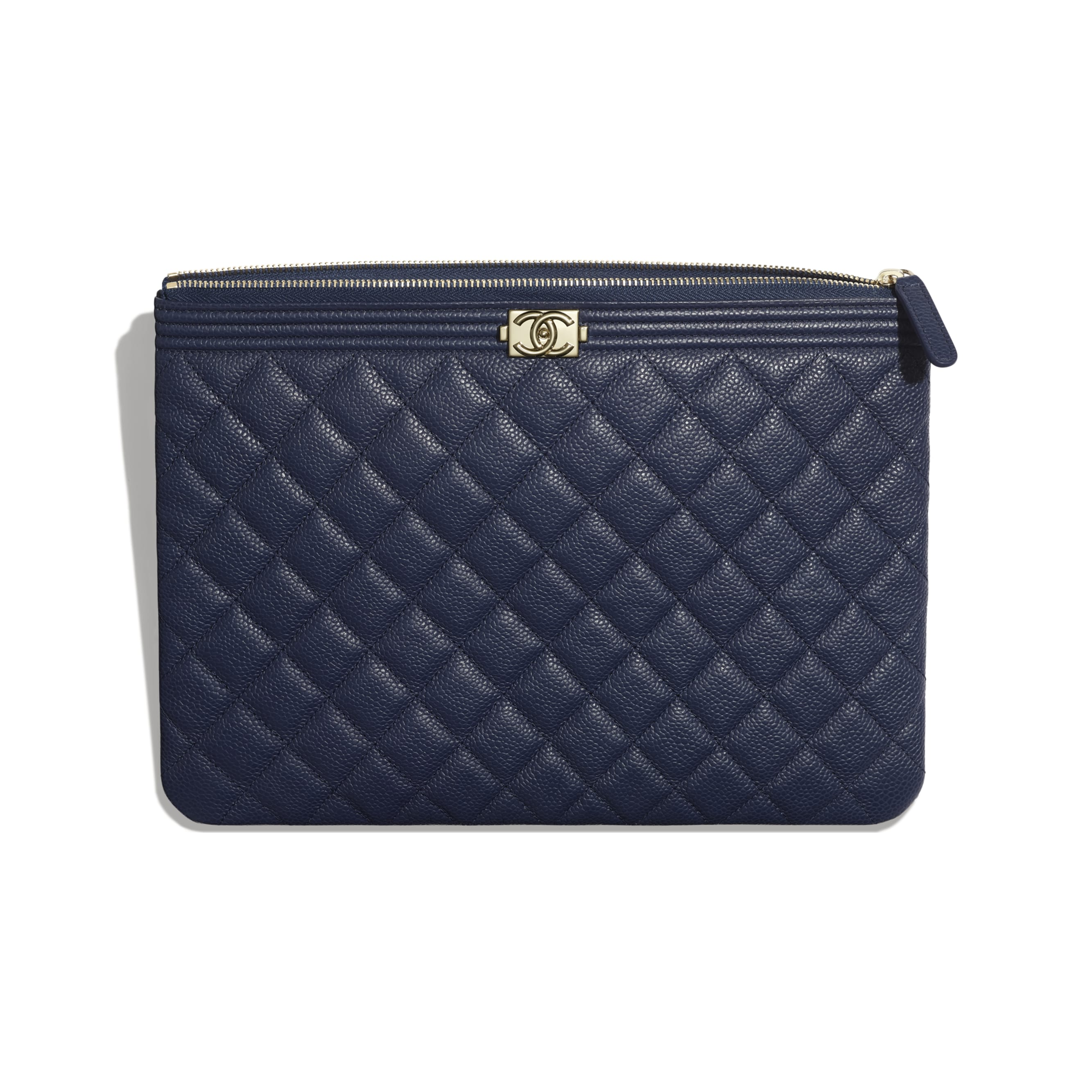 BOY CHANEL Pouch - Navy Blue - Grained Calfskin & Gold-Tone Metal - Other view - see standard sized version