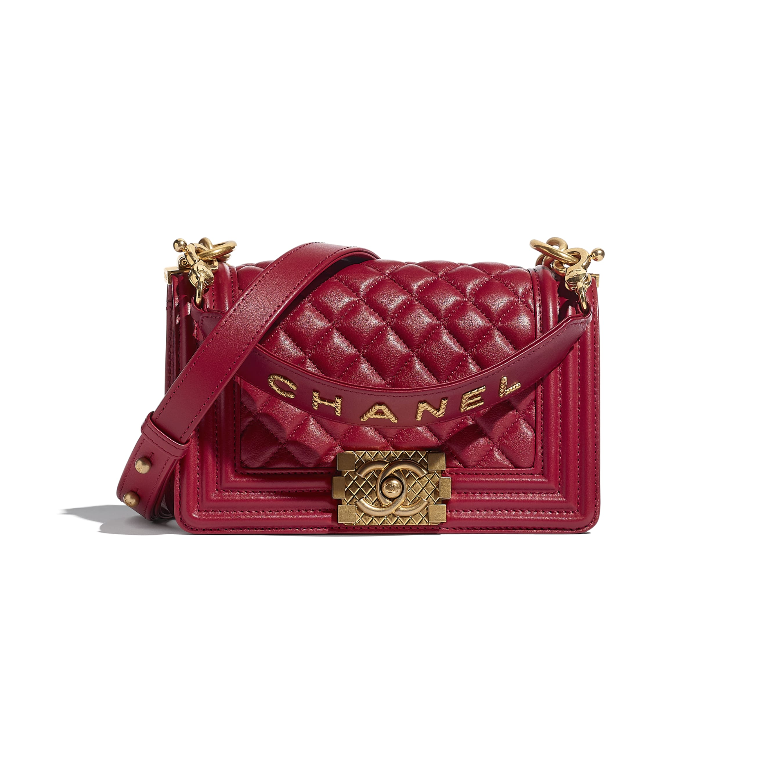 BOY CHANEL Small Flap Bag with Handle - Red - Calfskin & Gold-Tone Metal - CHANEL - Default view - see standard sized version