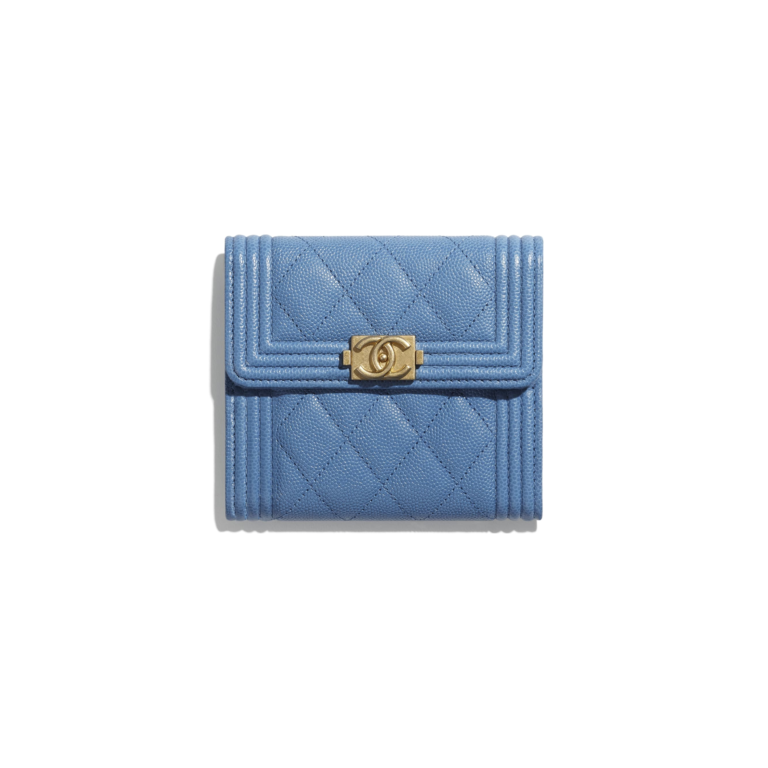 BOY CHANEL Small Flap Wallet - Blue - Grained Calfskin & Gold-Tone Metal - CHANEL - Default view - see standard sized version