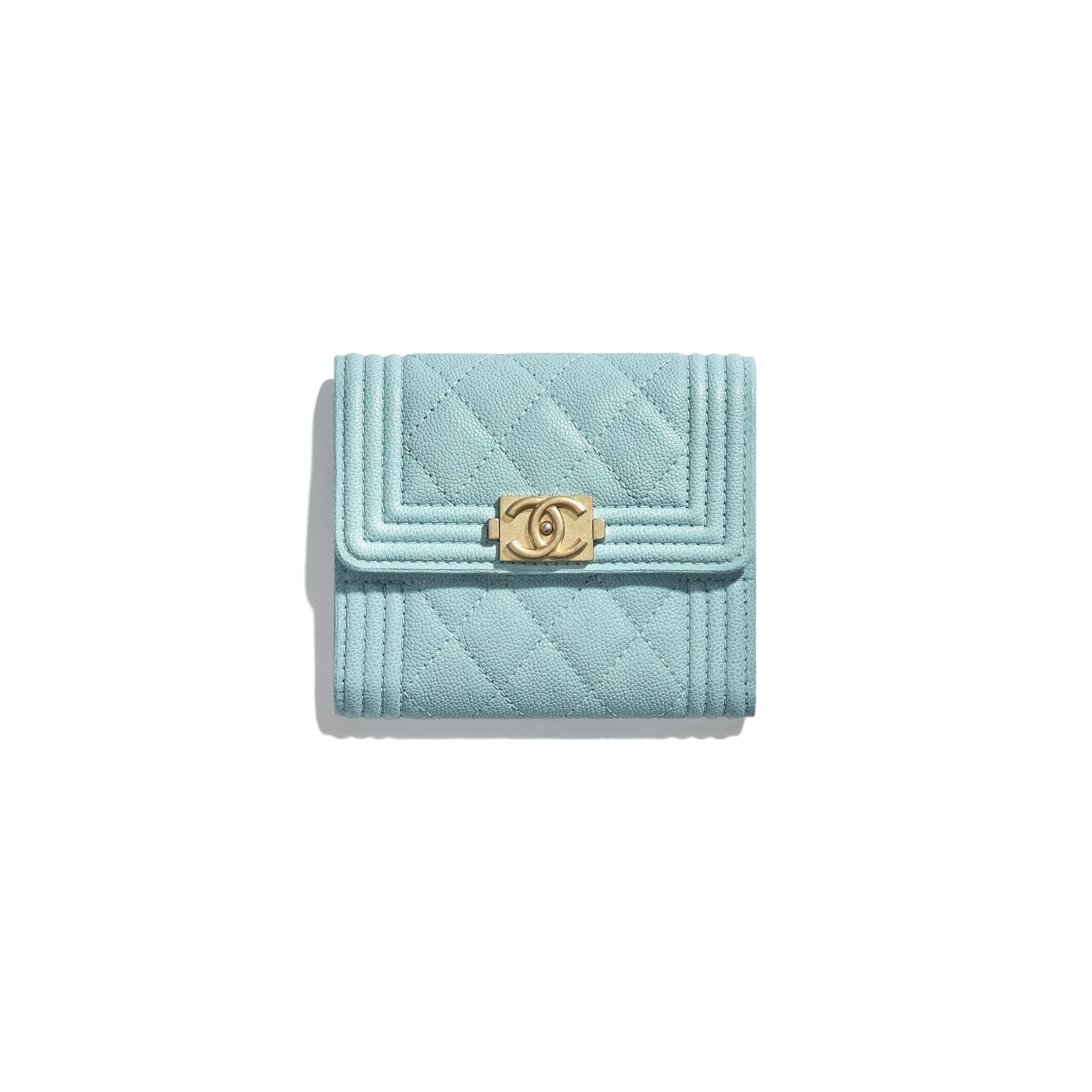e3e2bb1d9093 ... BOY CHANEL Small Flap Wallet - Light Blue - Grained Calfskin   Gold-Tone  Metal