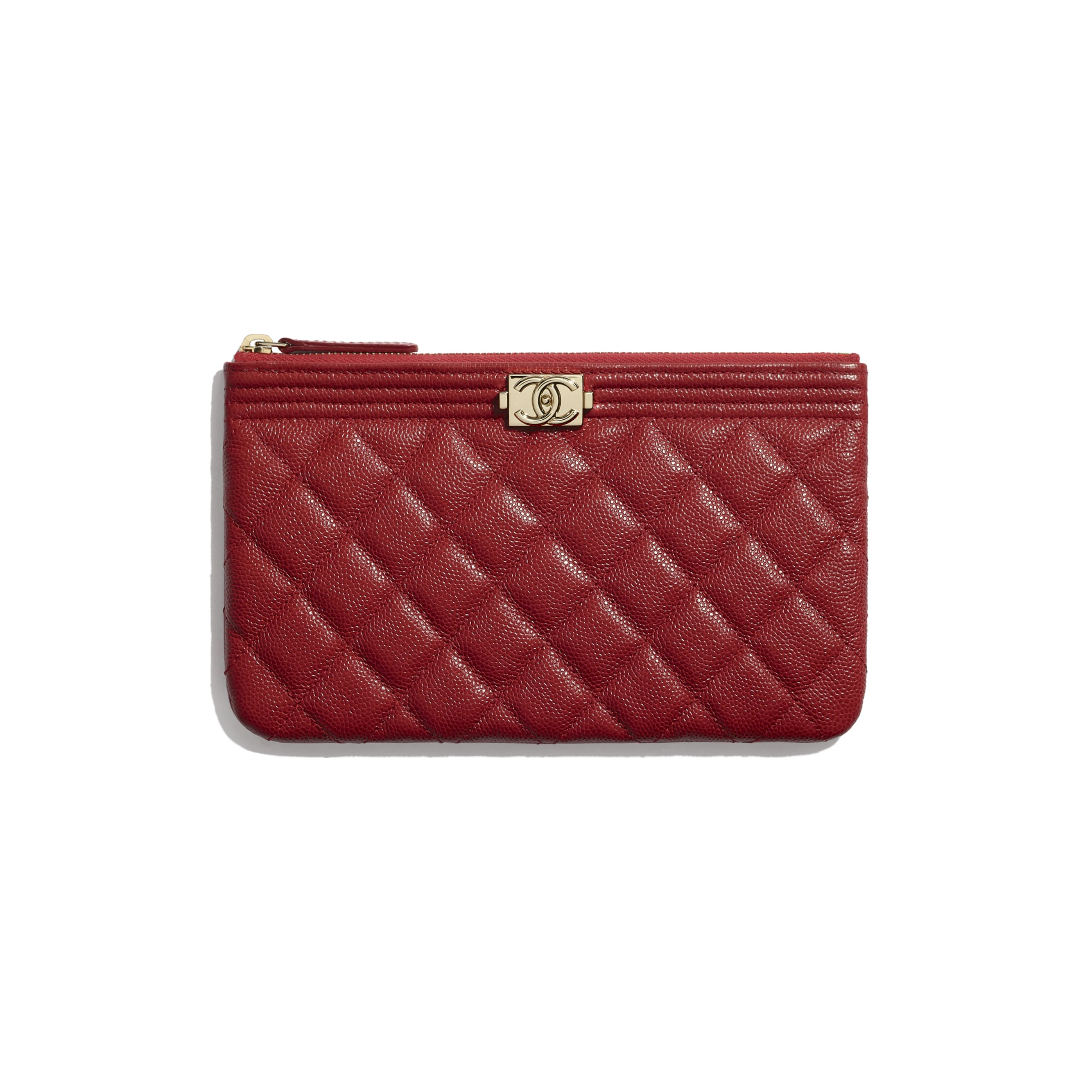 BOY CHANEL Small Pouch - Red - Grained Calfskin & Gold-Tone Metal - CHANEL - Default view - see standard sized version