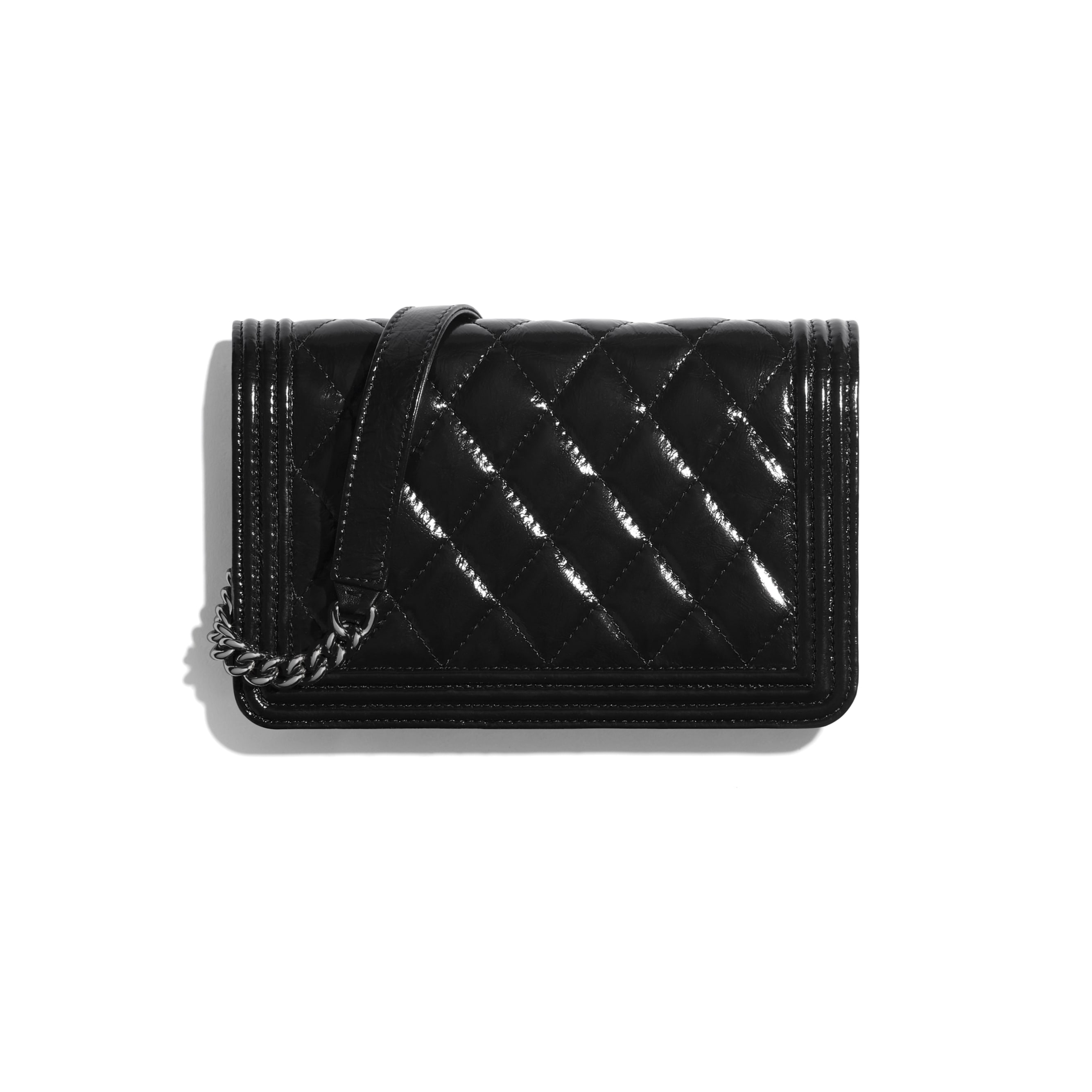 BOY CHANEL Wallet On Chain - Black - Aged Calfskin & Ruthenium-Finish Metal - CHANEL - Alternative view - see standard sized version