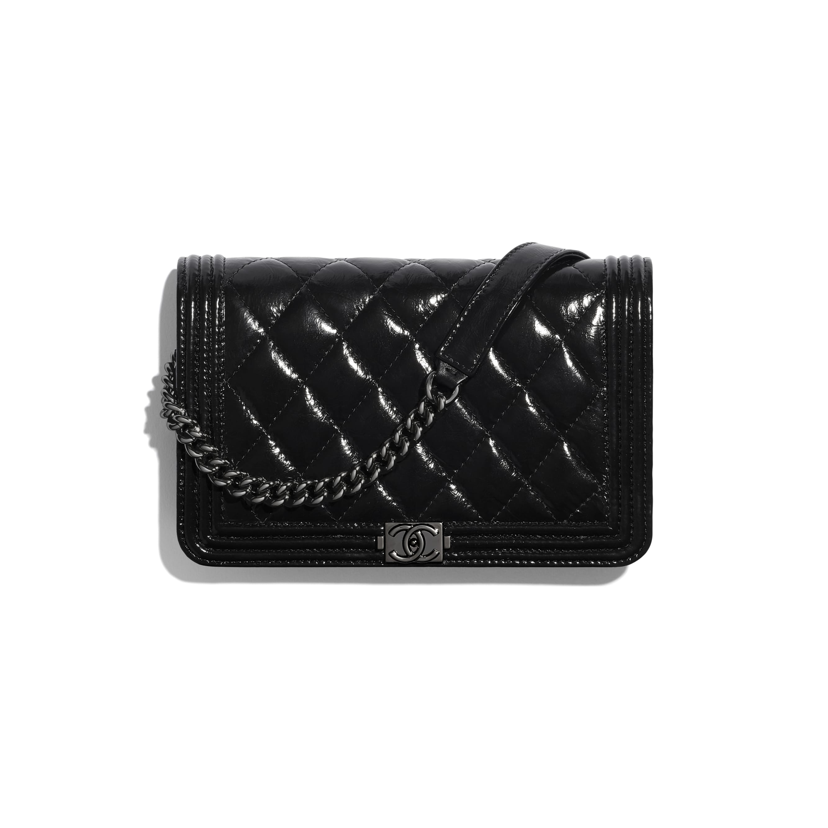 BOY CHANEL Wallet On Chain - Black - Aged Calfskin & Ruthenium-Finish Metal - CHANEL - Default view - see standard sized version