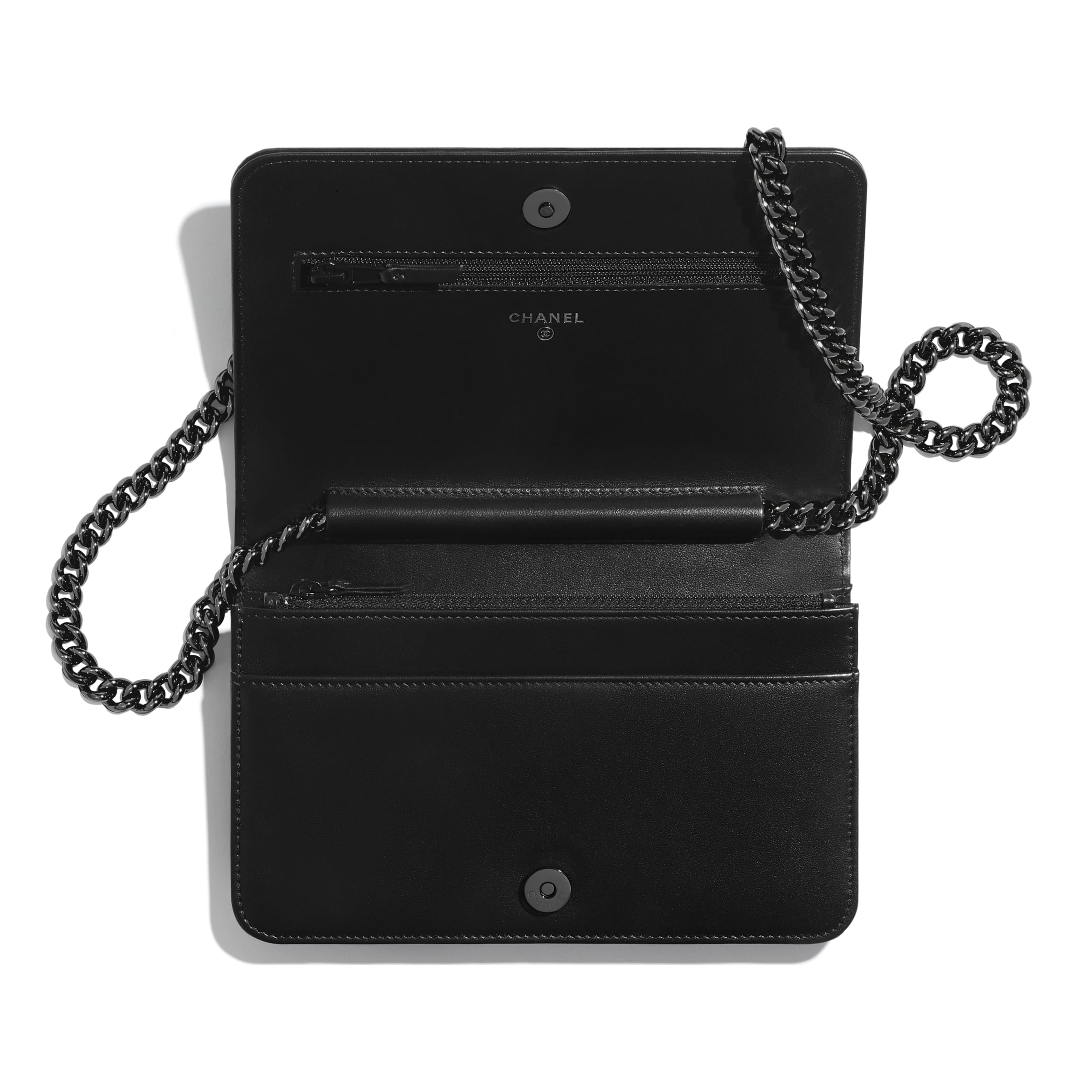 BOY CHANEL Wallet On Chain - Black - Aged Calfskin & Ruthenium-Finish Metal - CHANEL - Other view - see standard sized version