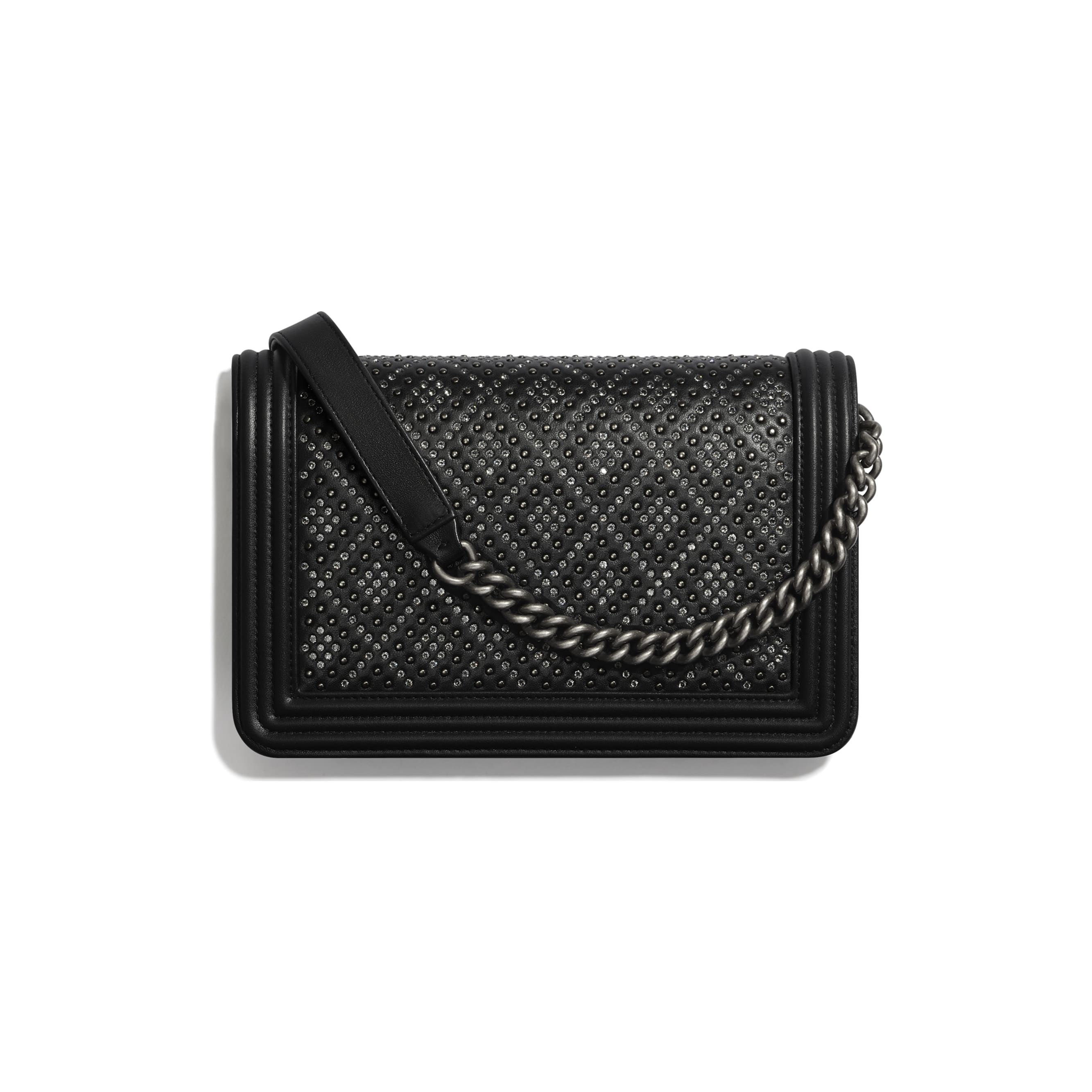 BOY CHANEL Wallet On Chain - Black - Calfskin, Studs, Diamanté & Ruthenium-Finish Metal - Alternative view - see standard sized version