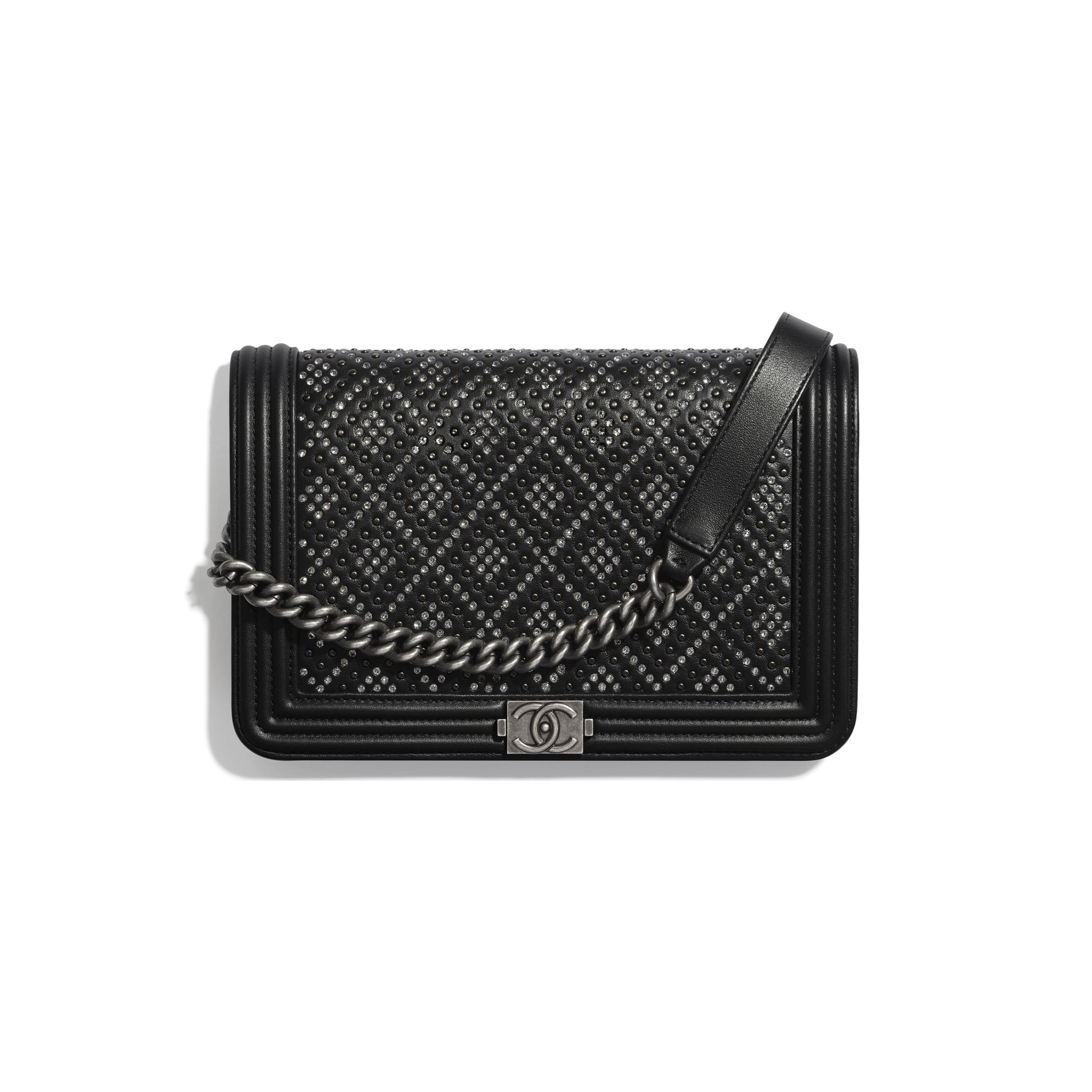 BOY CHANEL Wallet On Chain - Black - Calfskin, Studs, Diamanté & Ruthenium-Finish Metal - CHANEL - Default view - see standard sized version