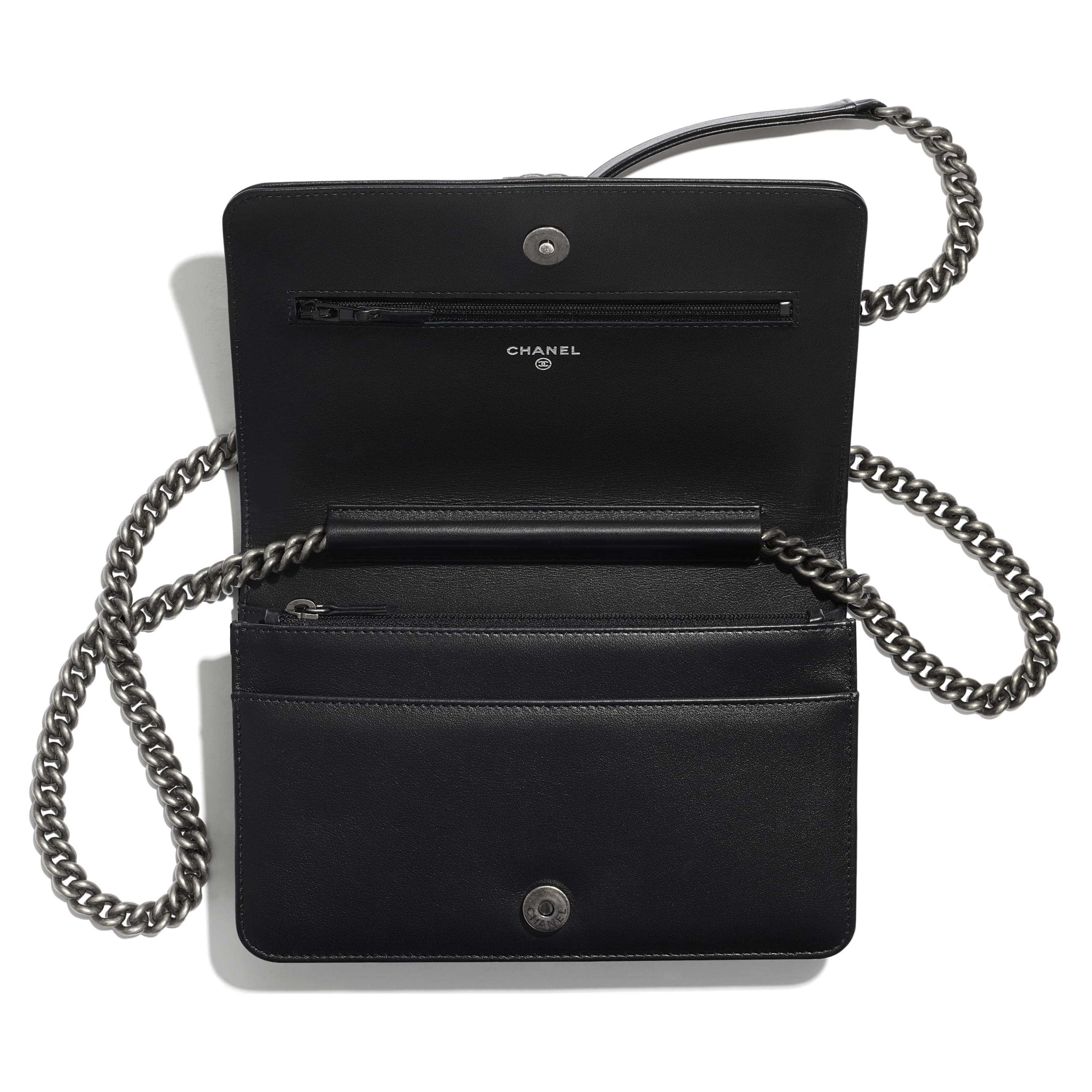 BOY CHANEL Wallet On Chain - Black - Calfskin, Studs, Diamanté & Ruthenium-Finish Metal - Other view - see standard sized version