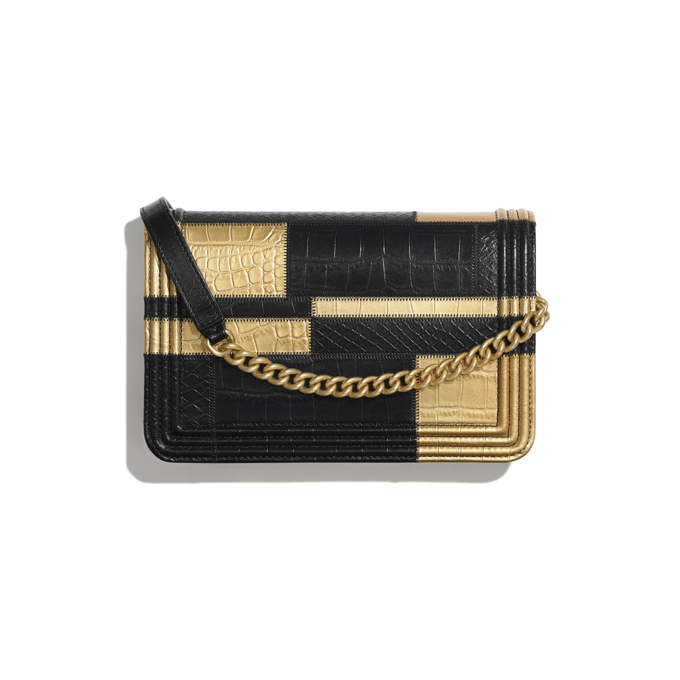 BOY CHANEL Wallet on Chain - Black & Gold - Crocodile Embossed Calfskin, Python Embossed Calfskin & Gold-Tone Metal - Alternative view - see standard sized version
