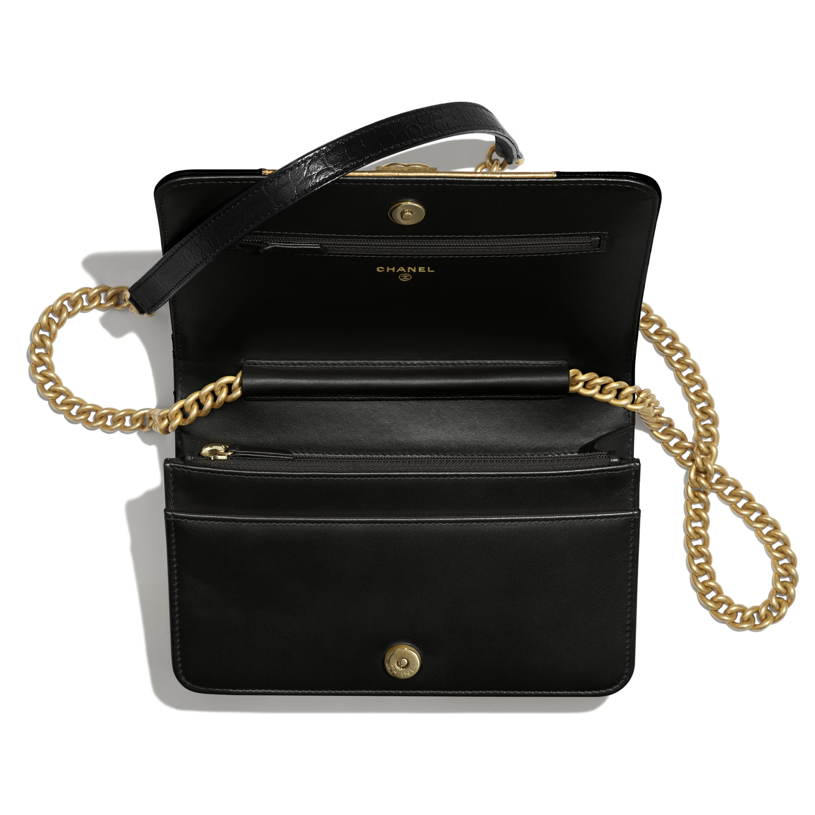 BOY CHANEL Wallet on Chain - Black & Gold - Crocodile Embossed Calfskin, Python Embossed Calfskin & Gold-Tone Metal - Other view - see standard sized version