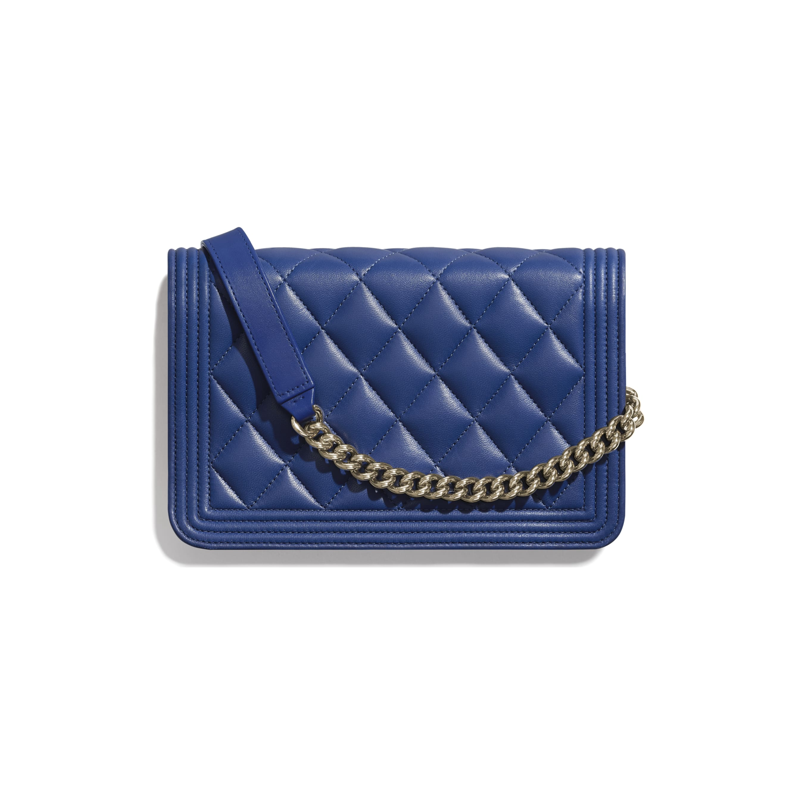 BOY CHANEL Wallet on Chain - Dark Blue - Lambskin & Gold-Tone Metal - CHANEL - Alternative view - see standard sized version