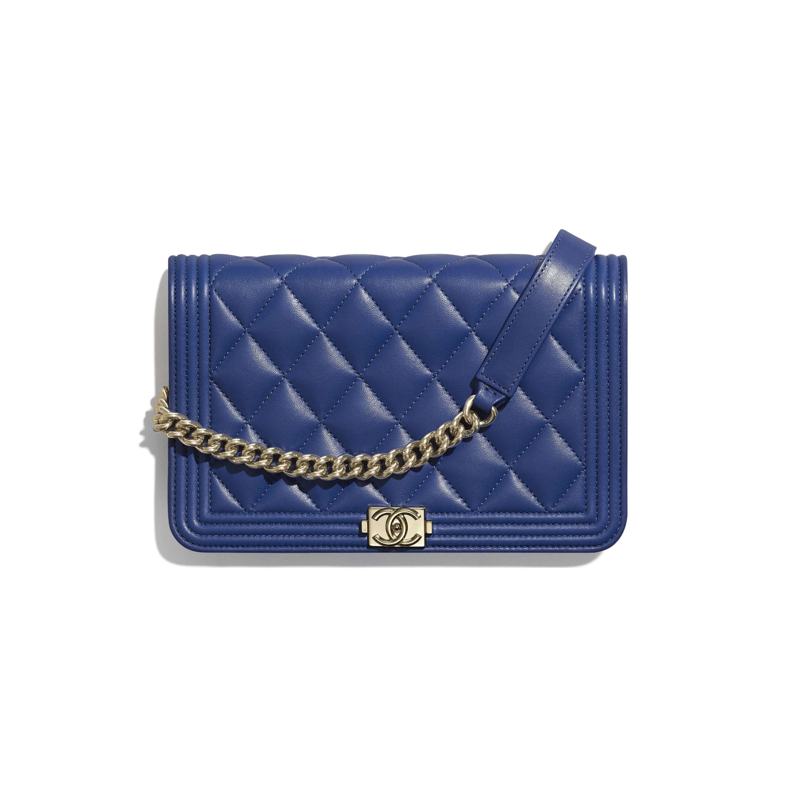 BOY CHANEL Wallet on Chain - Dark Blue - Lambskin & Gold-Tone Metal - CHANEL - Default view - see standard sized version