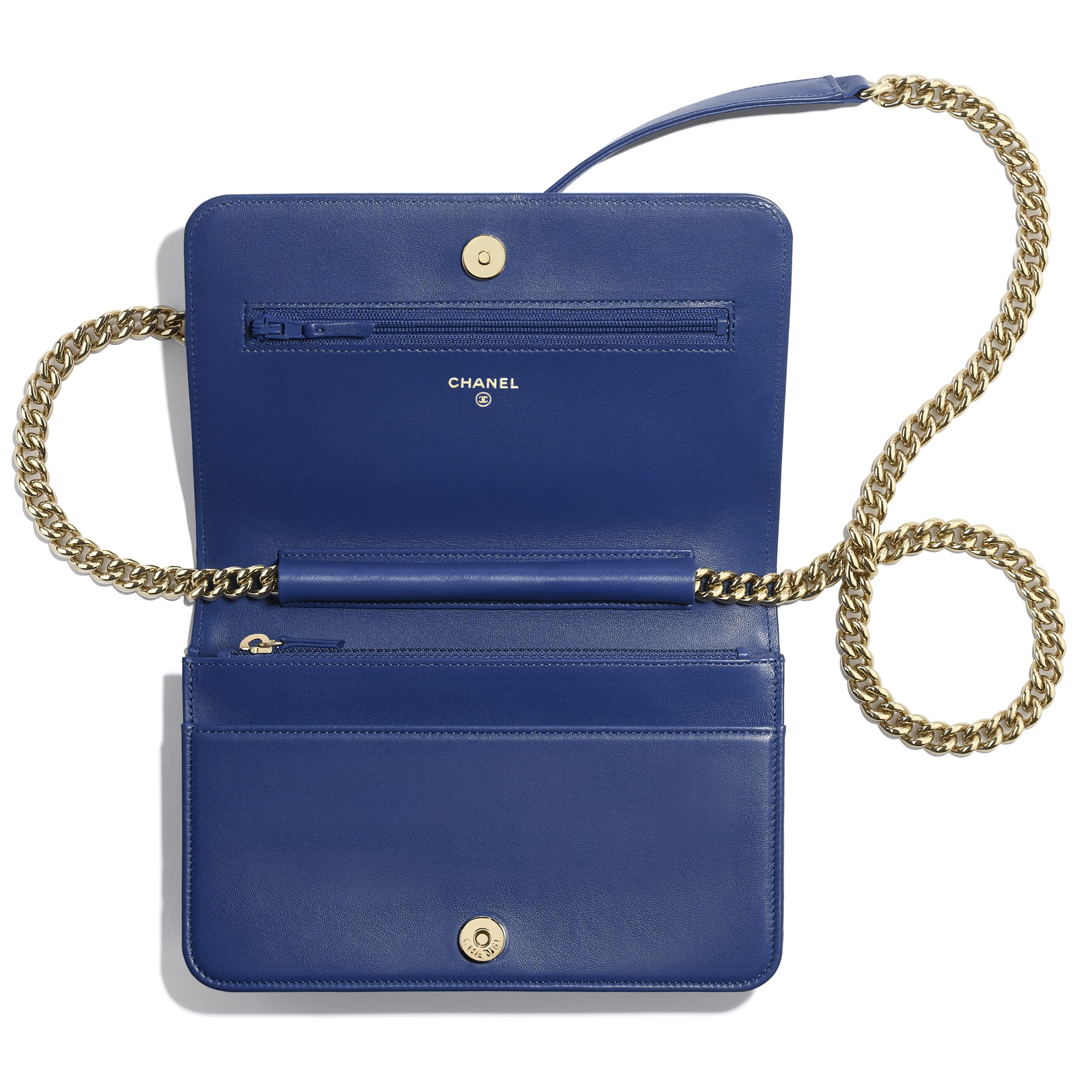 BOY CHANEL Wallet on Chain - Dark Blue - Lambskin & Gold-Tone Metal - CHANEL - Other view - see standard sized version