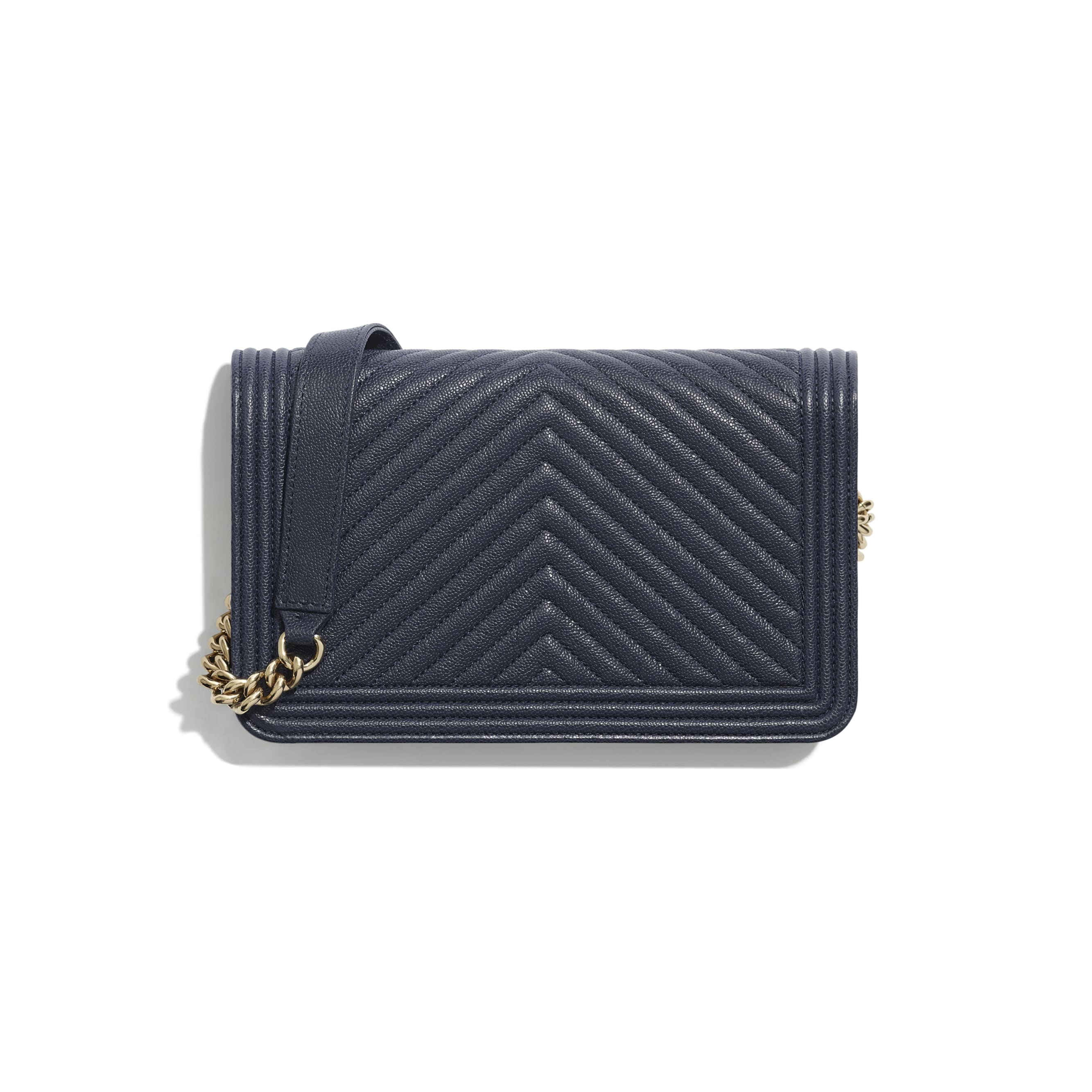 BOY CHANEL Wallet On Chain - Navy Blue - Grained Calfskin & Gold-Tone Metal - Alternative view - see standard sized version