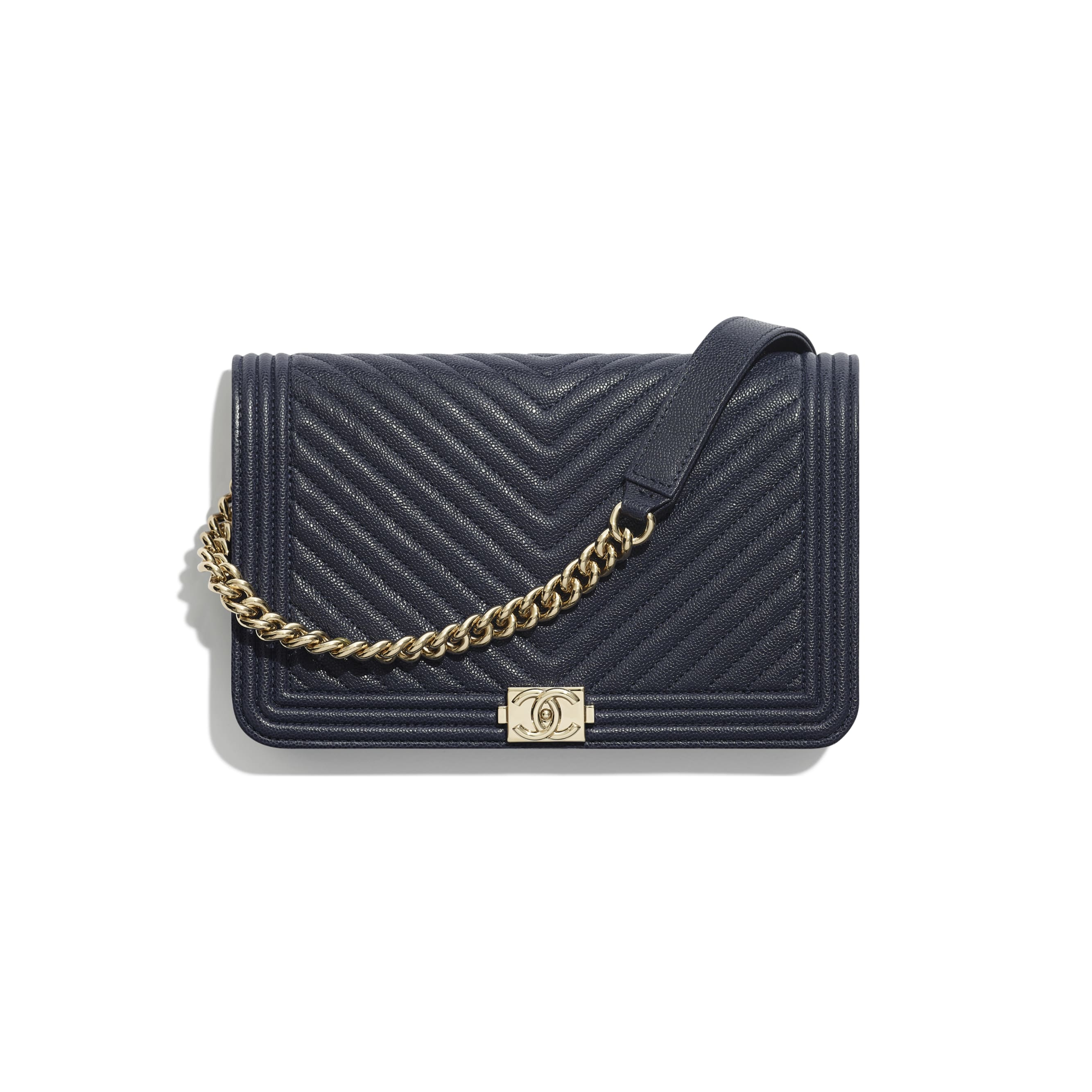 BOY CHANEL Wallet On Chain - Navy Blue - Grained Calfskin & Gold-Tone Metal - Default view - see standard sized version