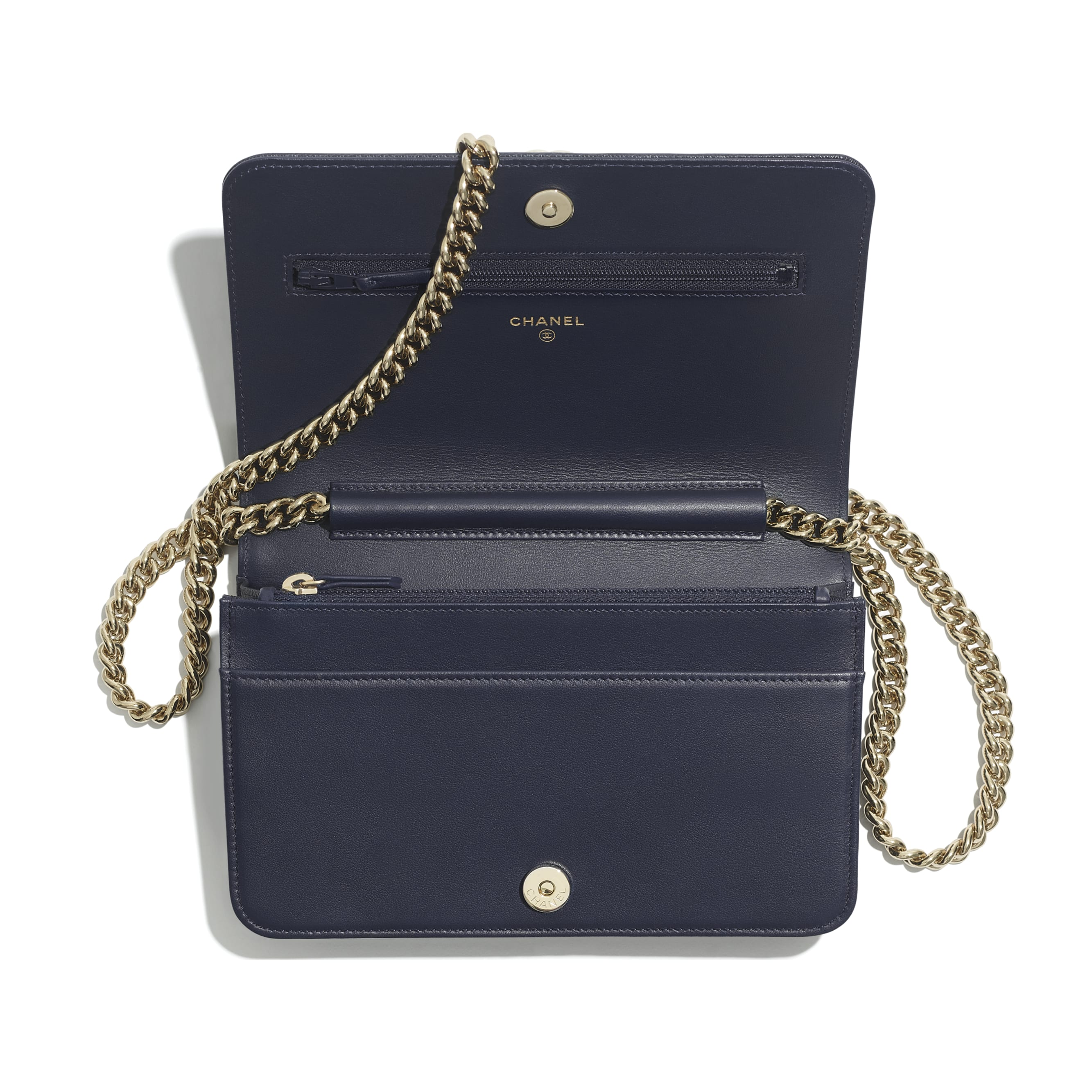 BOY CHANEL Wallet On Chain - Navy Blue - Grained Calfskin & Gold-Tone Metal - Other view - see standard sized version