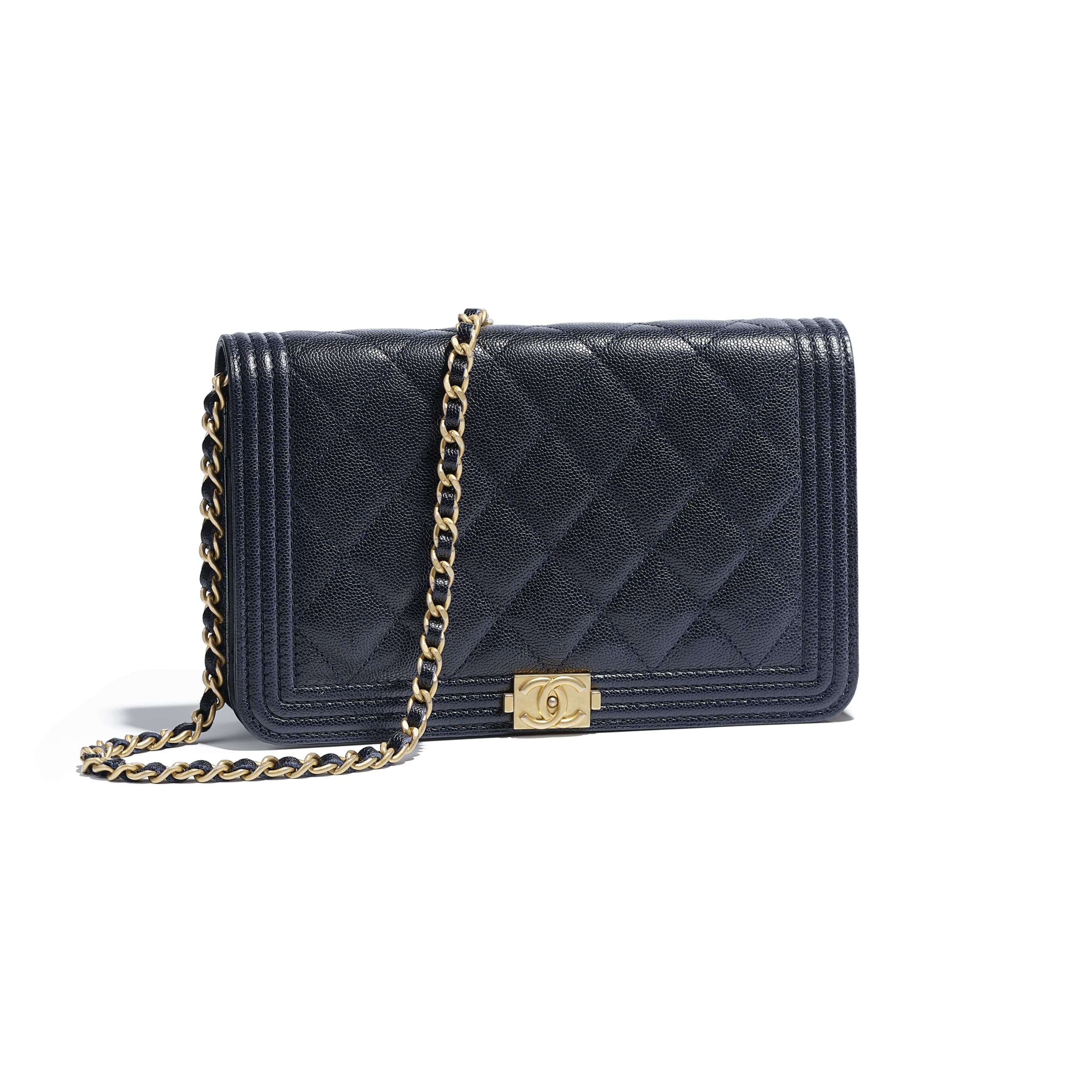 d63f3907d730 Grained Calfskin & Gold-Tone Metal Navy Blue BOY CHANEL Wallet on Chain |  CHANEL