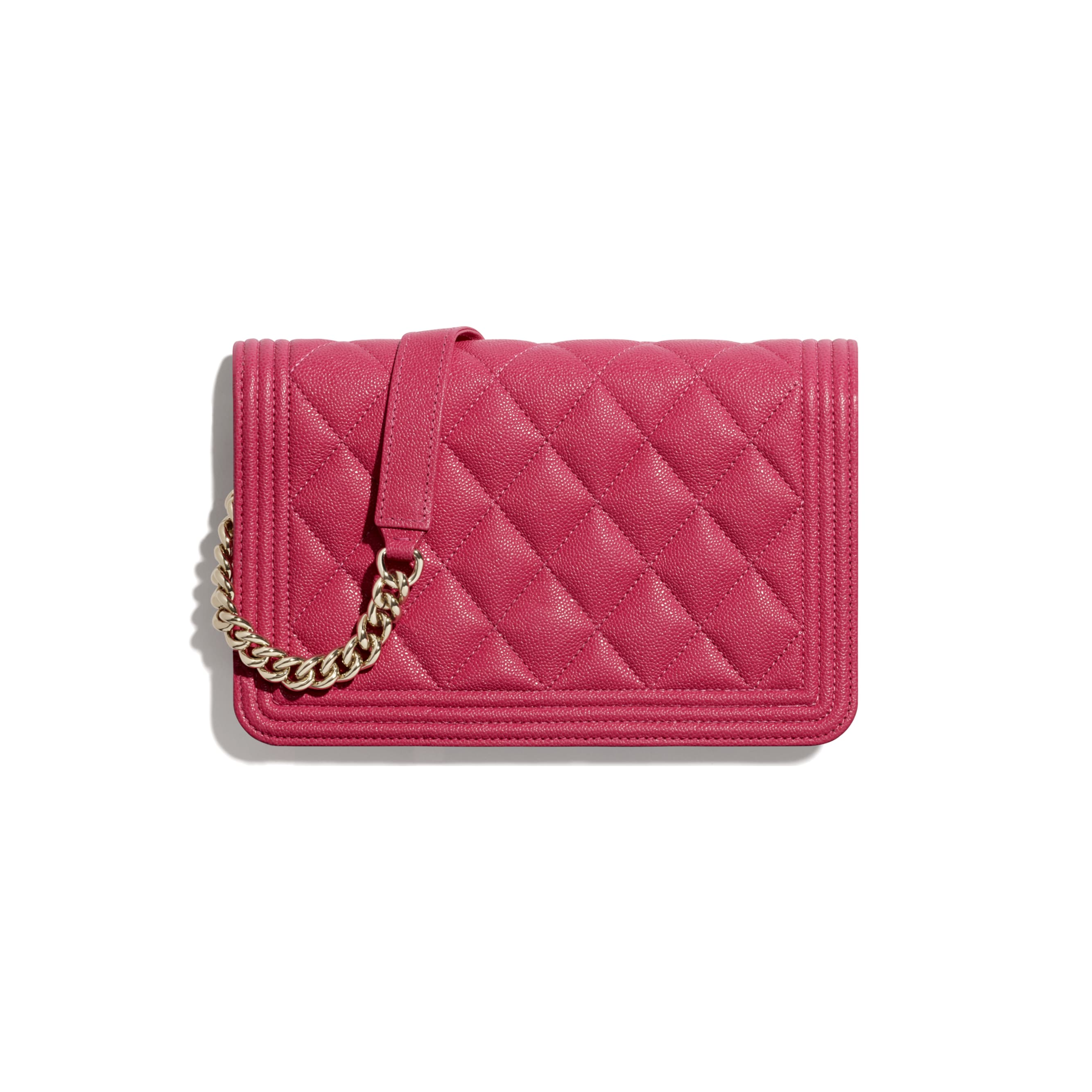 BOY CHANEL Wallet On Chain - Pink - Grained Calfskin & Gold-Tone Metal - CHANEL - Alternative view - see standard sized version