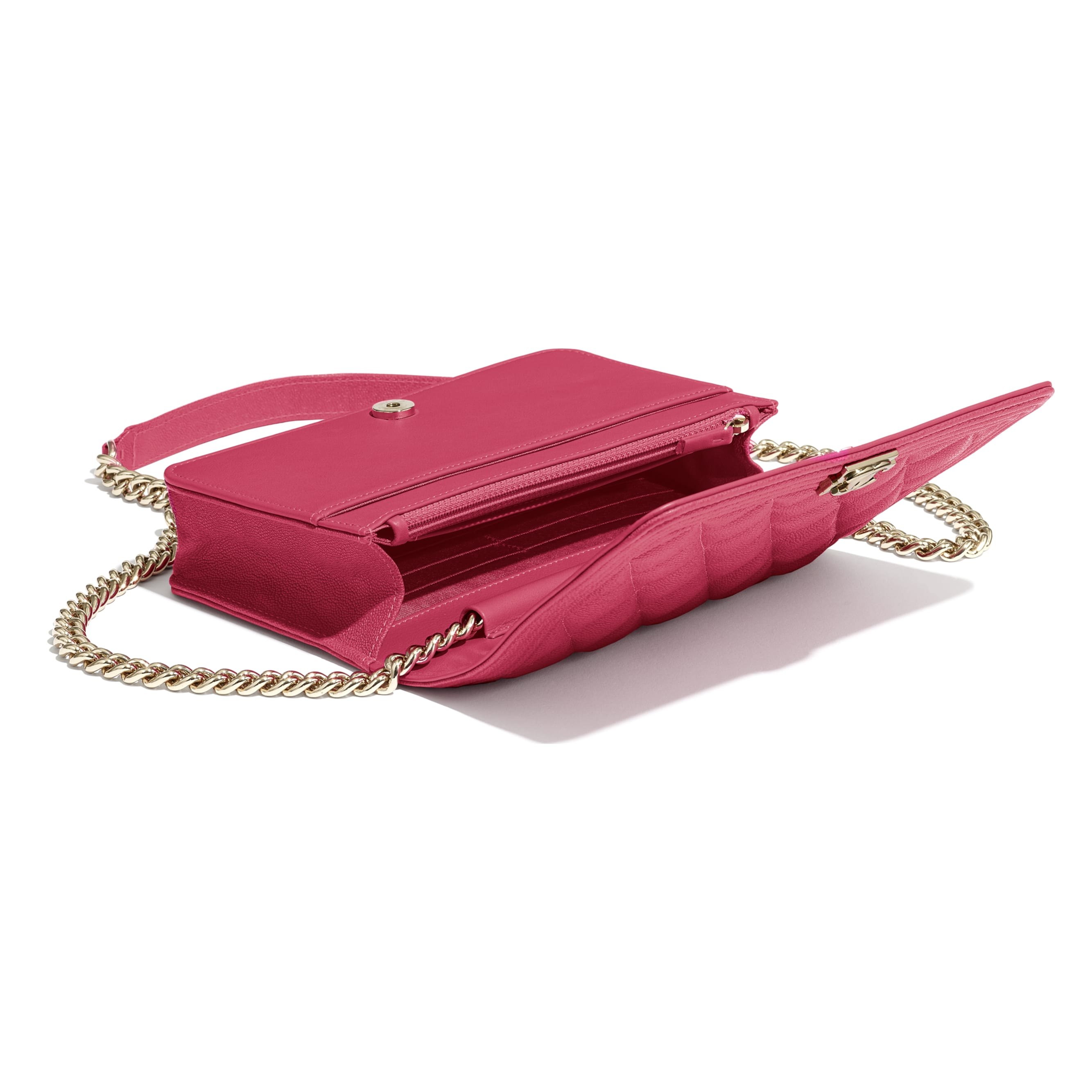 BOY CHANEL Wallet On Chain - Pink - Grained Calfskin & Gold-Tone Metal - CHANEL - Extra view - see standard sized version