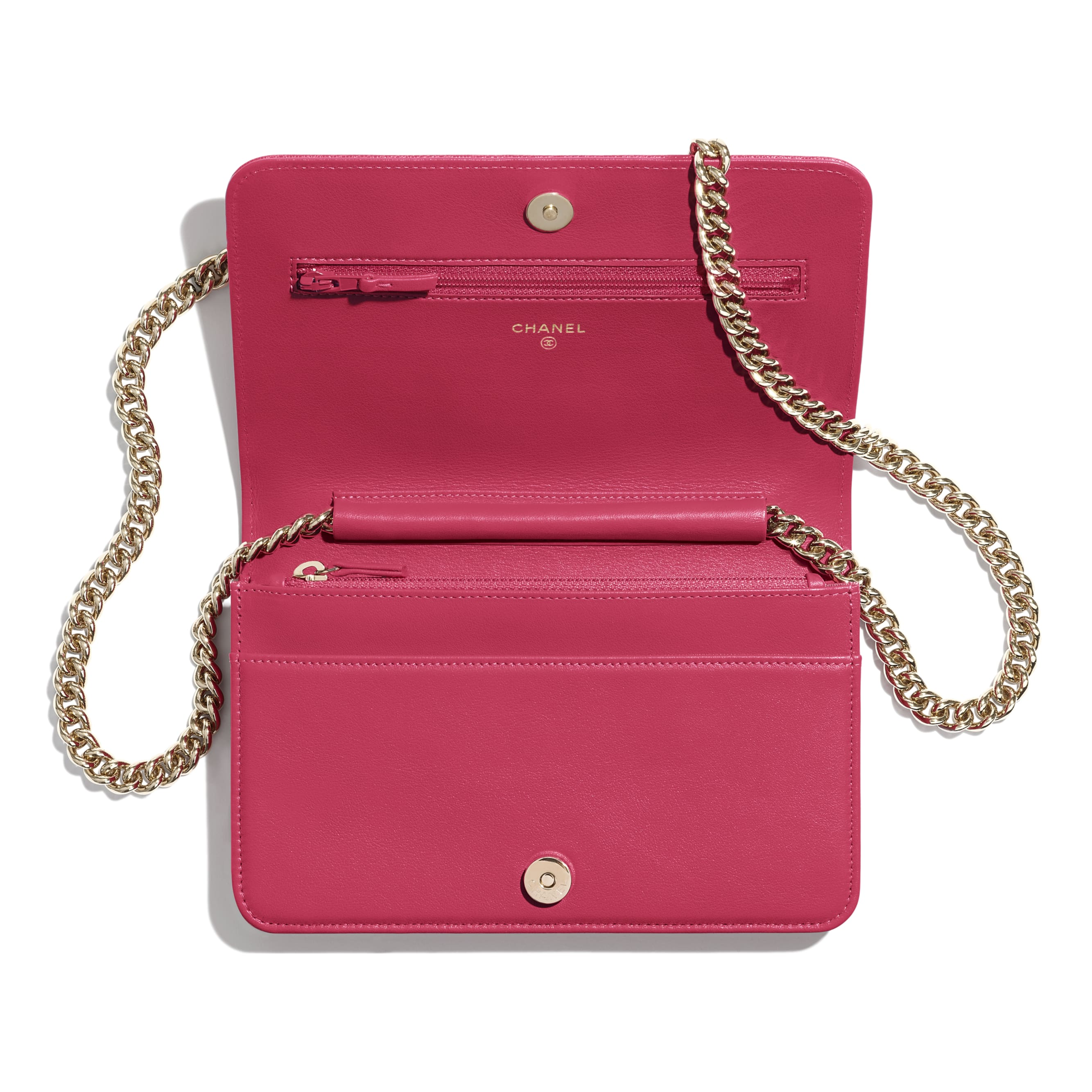BOY CHANEL Wallet On Chain - Pink - Grained Calfskin & Gold-Tone Metal - CHANEL - Other view - see standard sized version
