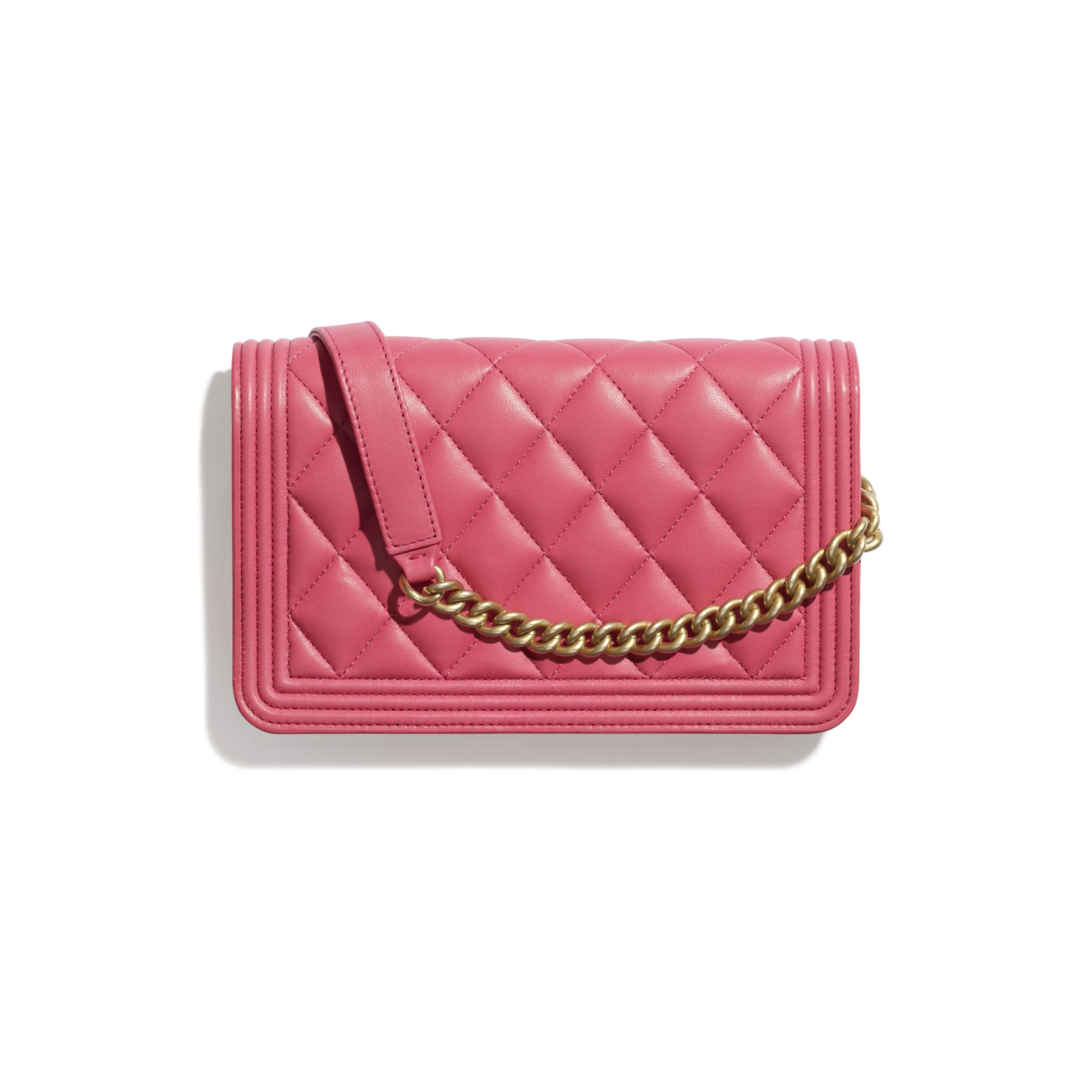BOY CHANEL Wallet On Chain - Pink - Lambskin - CHANEL - Alternative view - see standard sized version