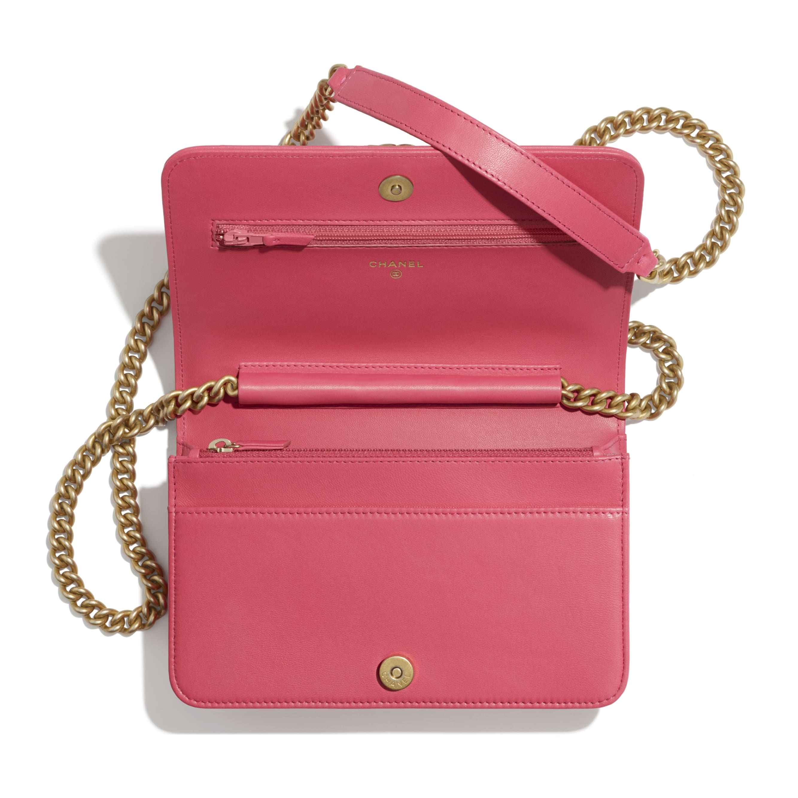BOY CHANEL Wallet On Chain - Pink - Lambskin - CHANEL - Other view - see standard sized version