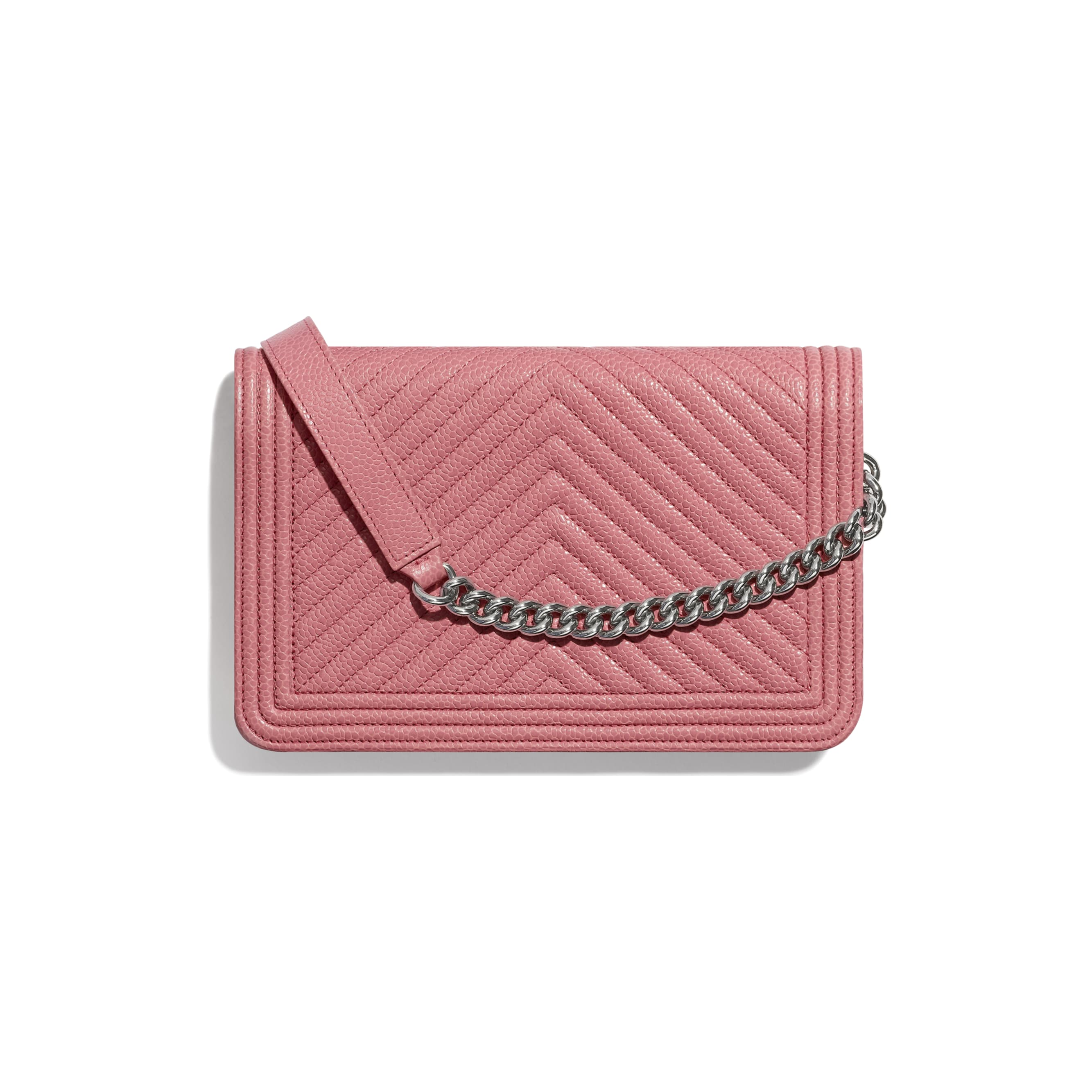 BOY CHANEL Wallet On Chain - Pink - Shiny Grained Calfskin & Silver-Tone Metal - Alternative view - see standard sized version