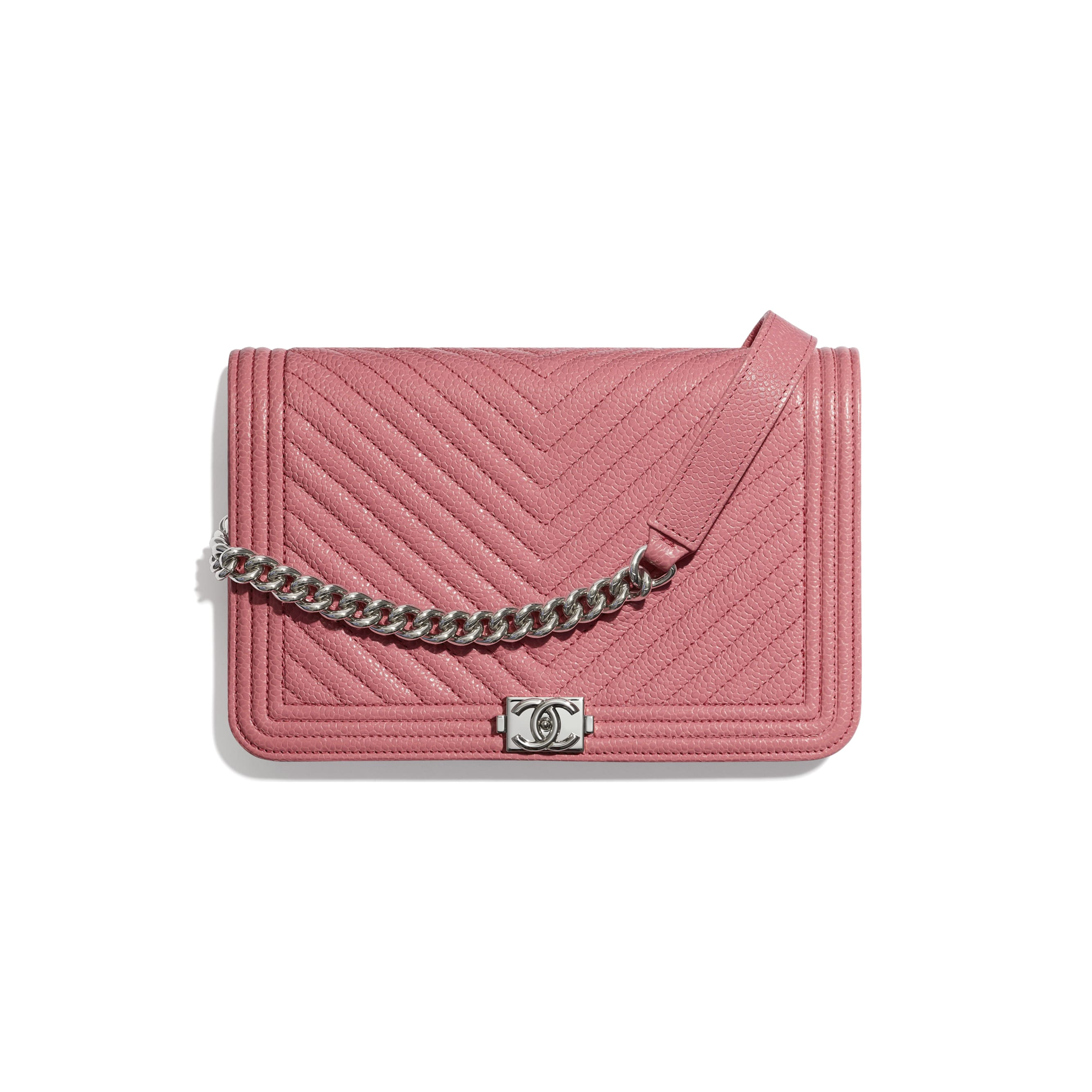 BOY CHANEL Wallet On Chain - Pink - Shiny Grained Calfskin & Silver-Tone Metal - Default view - see standard sized version