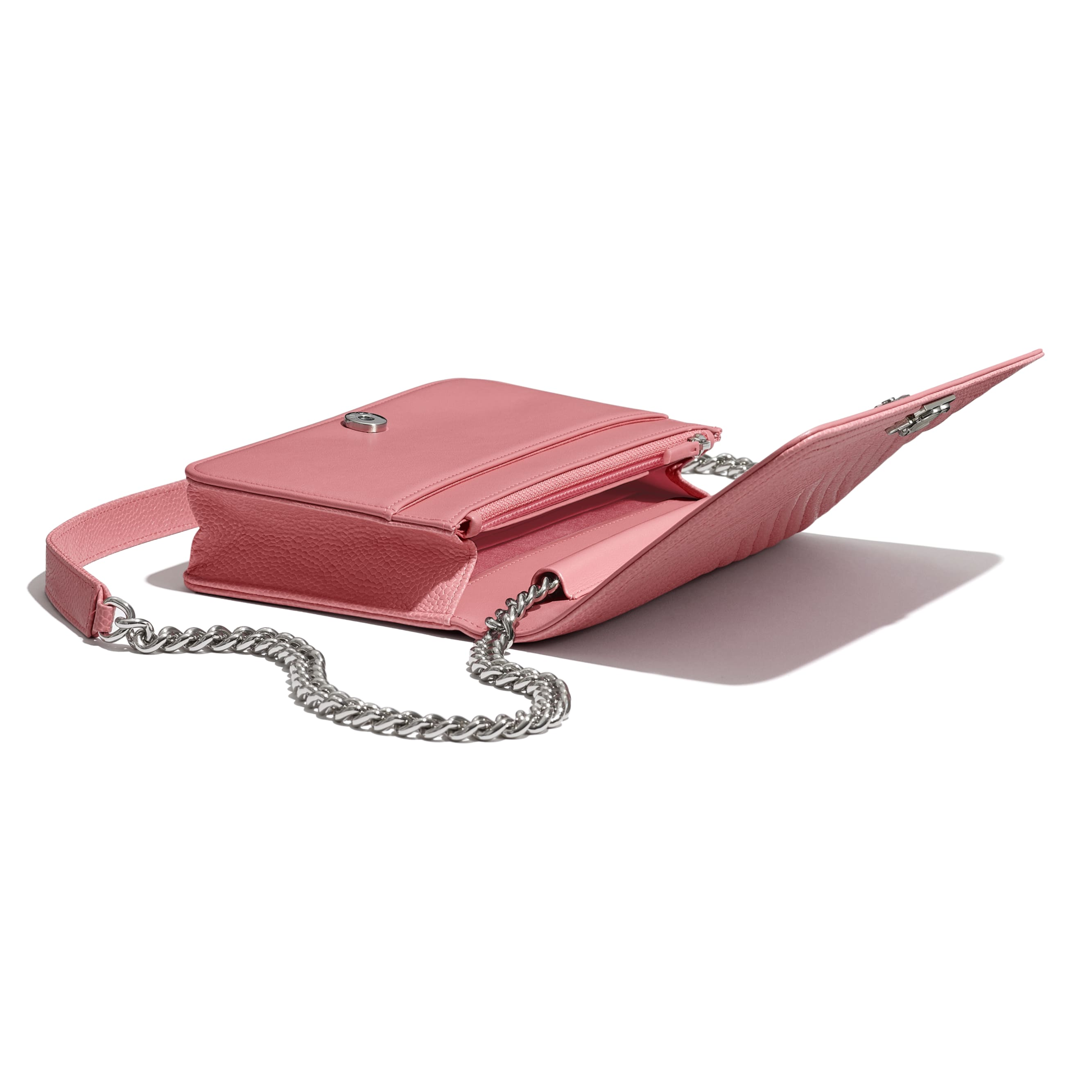 BOY CHANEL Wallet On Chain - Pink - Shiny Grained Calfskin & Silver-Tone Metal - Extra view - see standard sized version