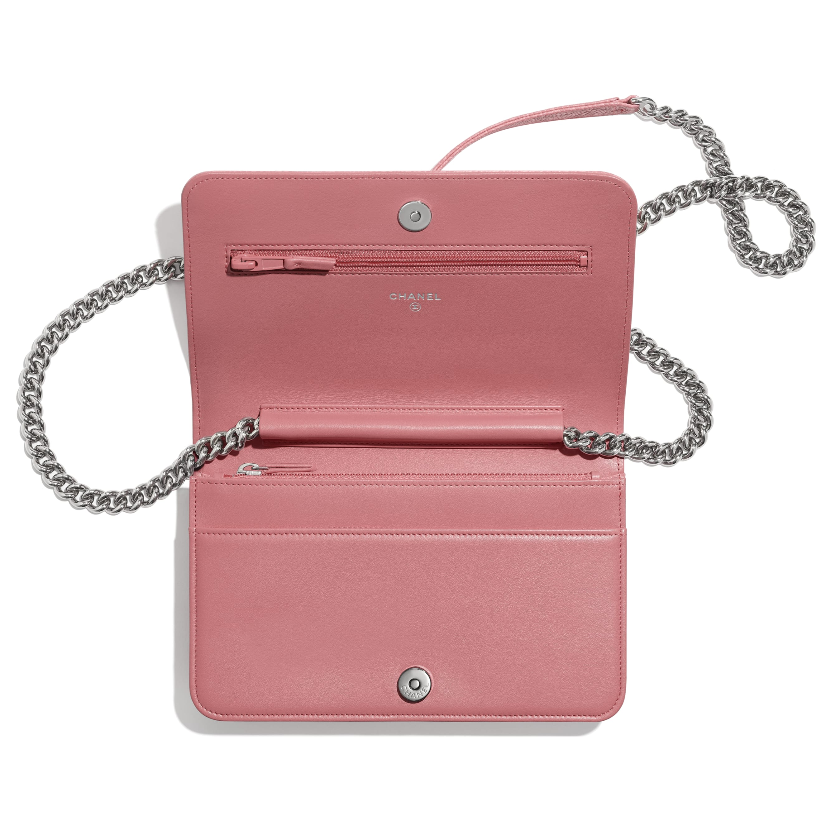 BOY CHANEL Wallet On Chain - Pink - Shiny Grained Calfskin & Silver-Tone Metal - Other view - see standard sized version