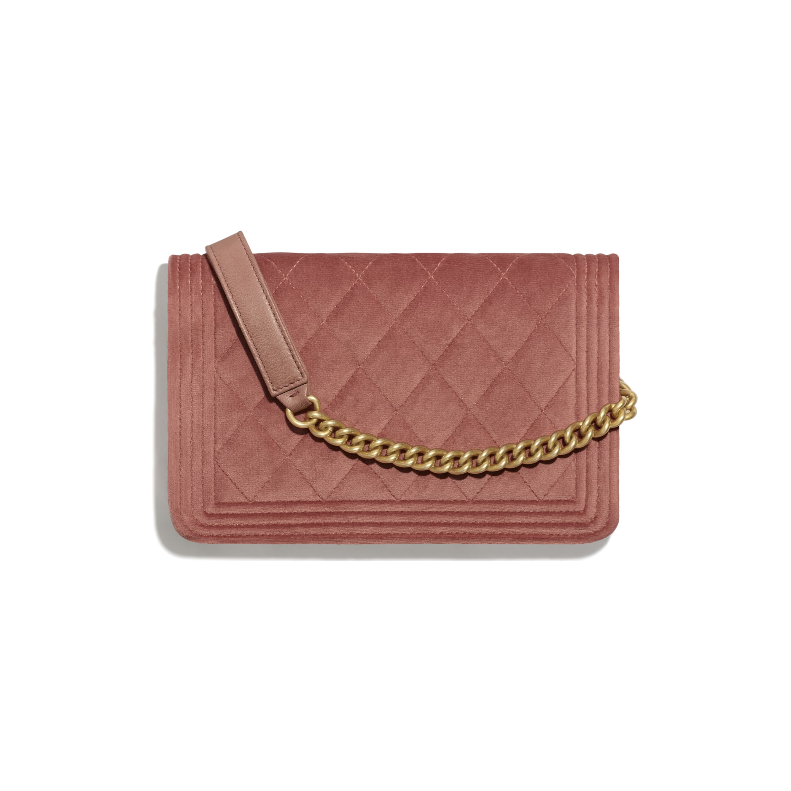 BOY CHANEL Wallet On Chain - Pink - Velvet & Gold Metal - CHANEL - Alternative view - see standard sized version